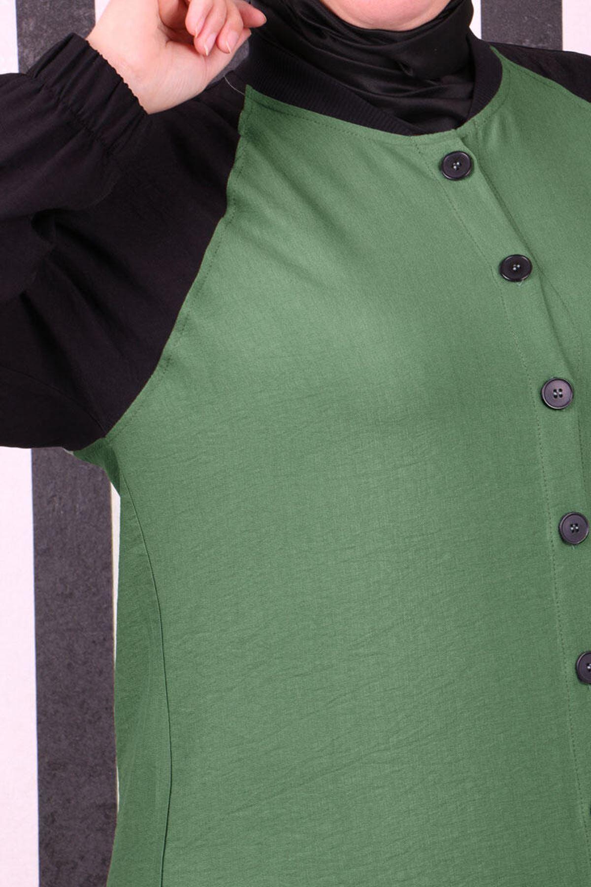 3136  كاب مقاس كبير بأكمام ريجلان - أخضر زيتي