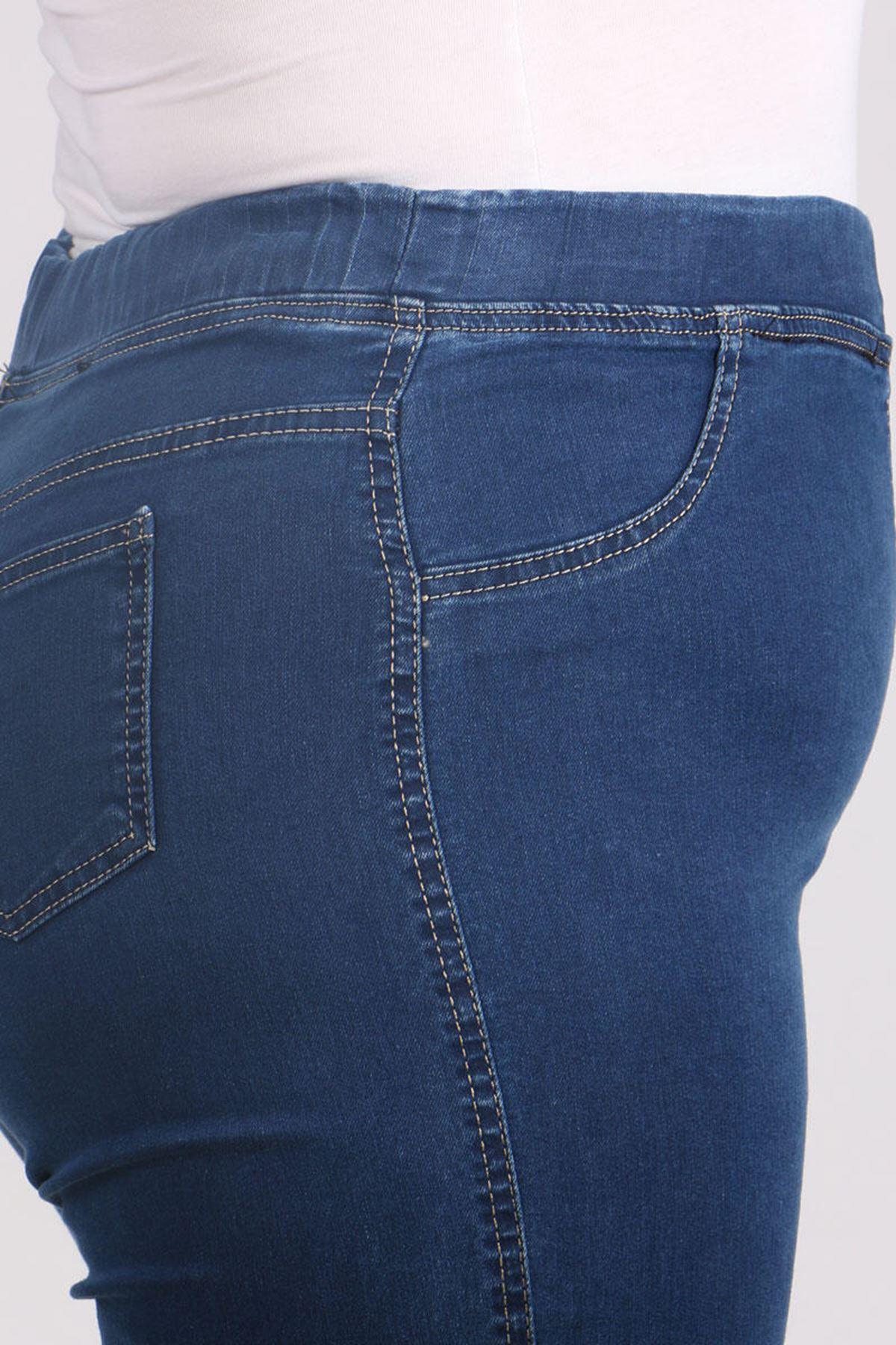 9109-7 بنطلون جينز مرن الخصر و مقاس كبير - أزرق كحلي