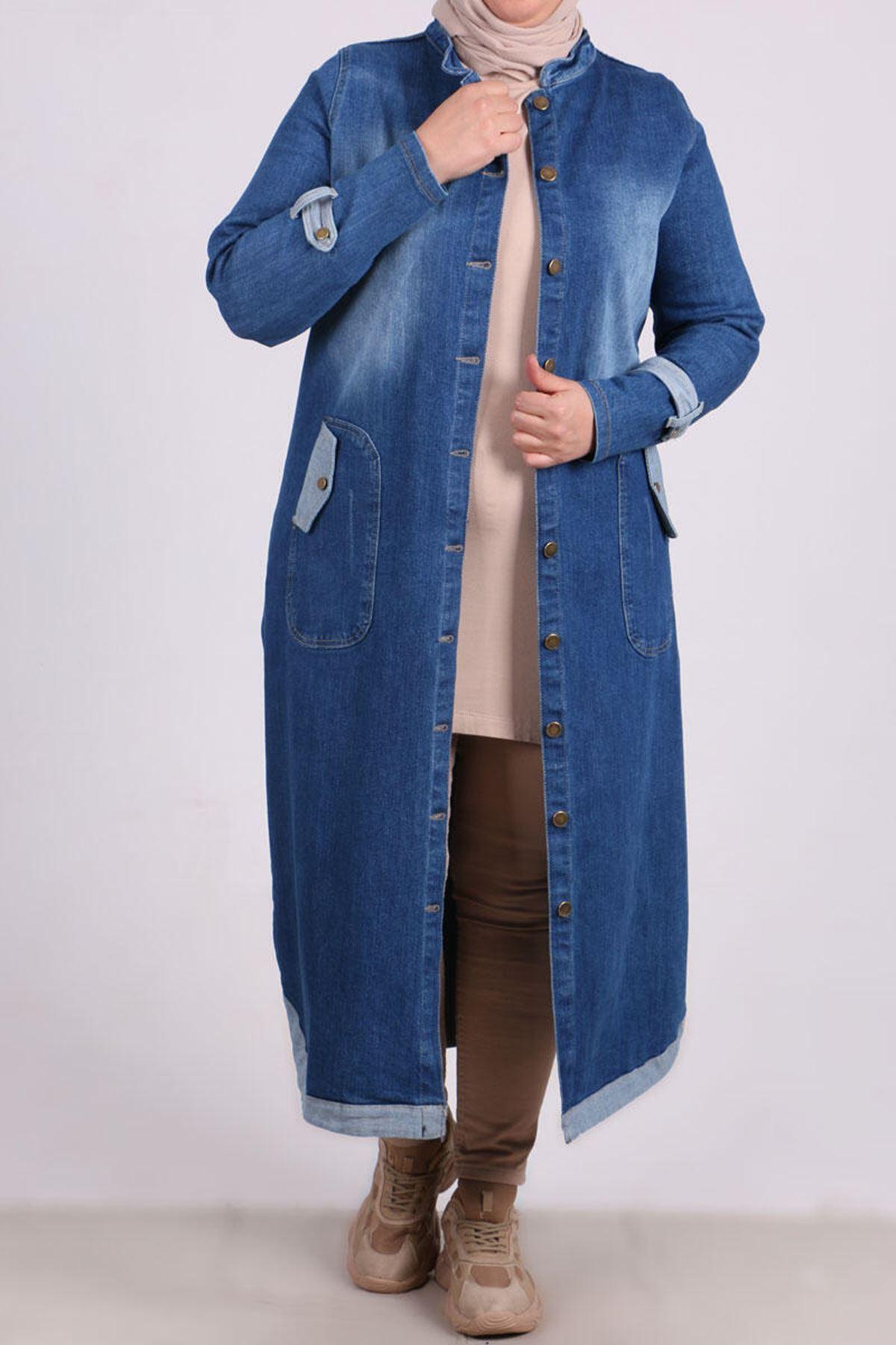 3092-2 كاب جينز مقاس كبير - أزرق