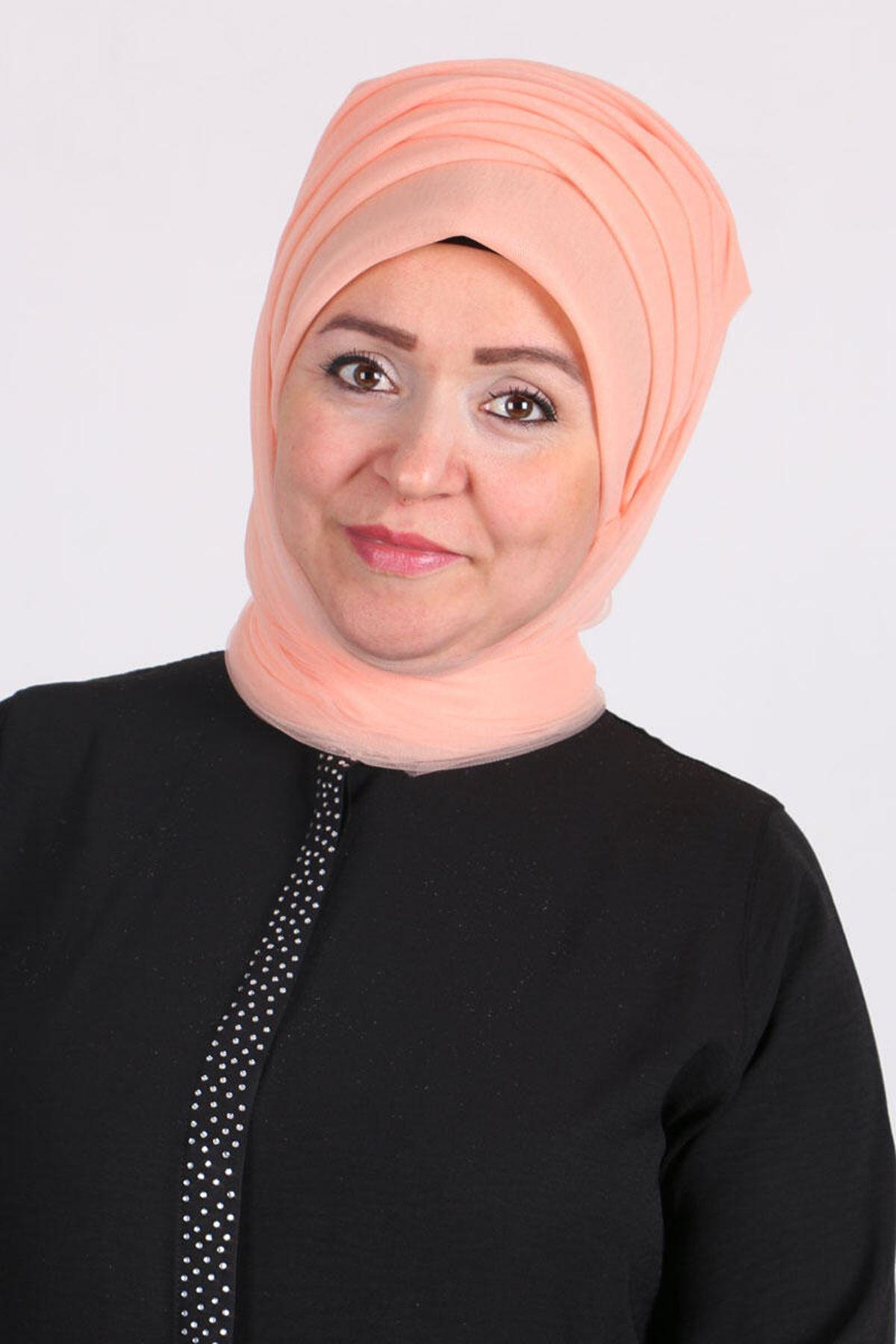 17179  حجاب جاهز - برتقالي وردي