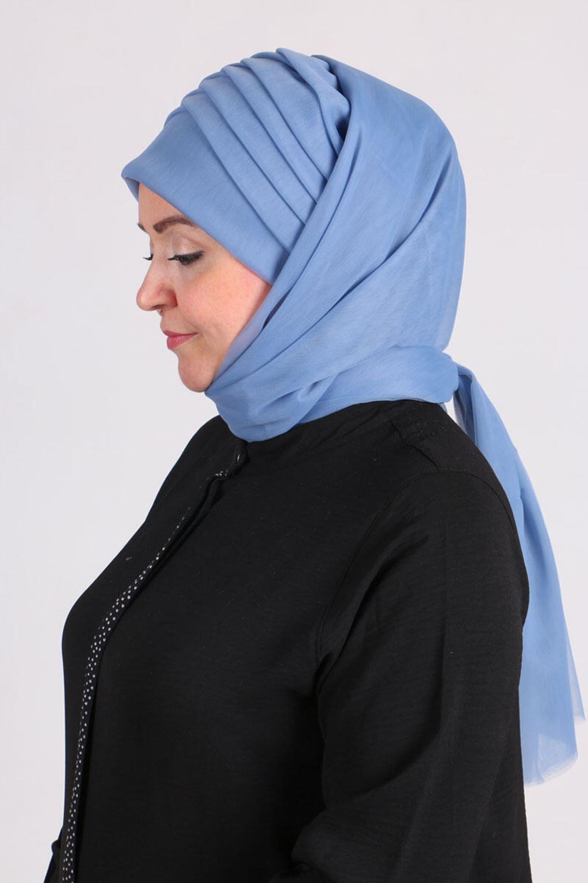 17179  حجاب جاهز - نيلي