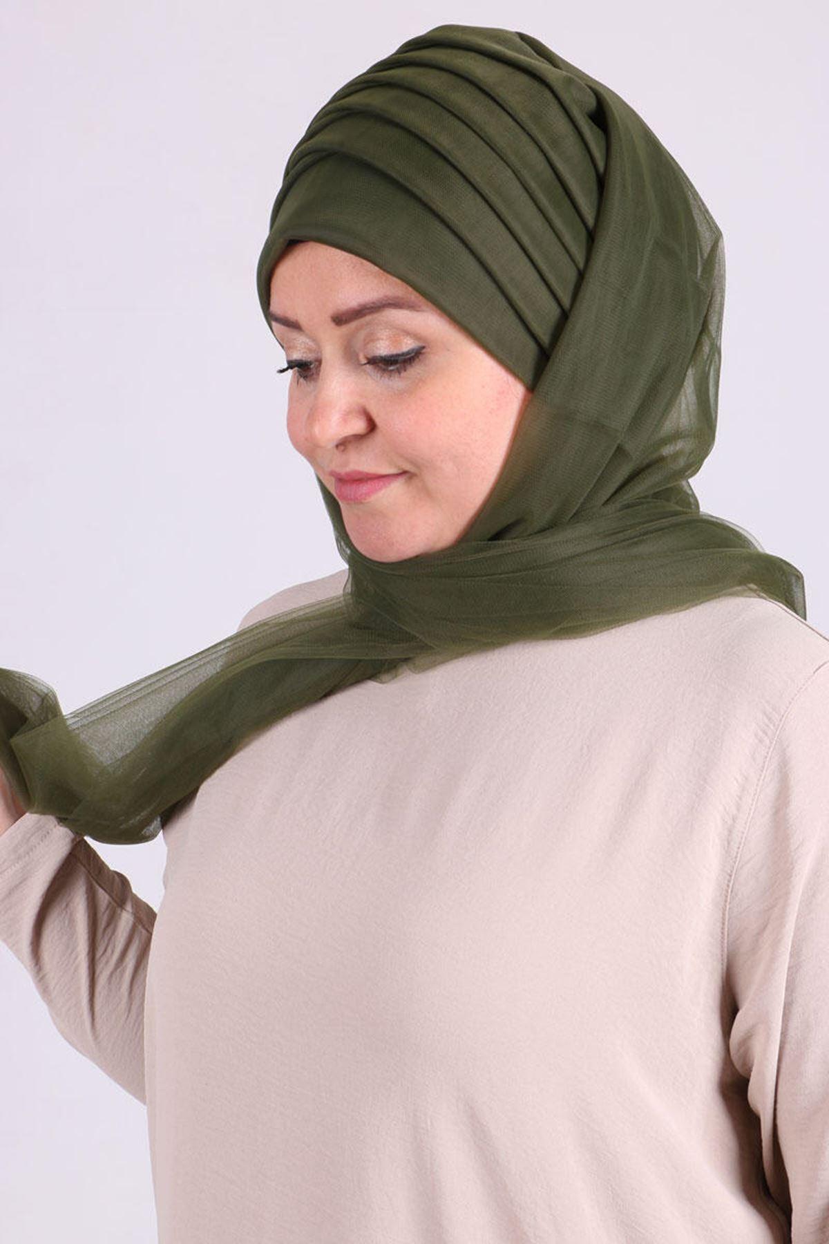 17179  حجاب جاهز - كاكي