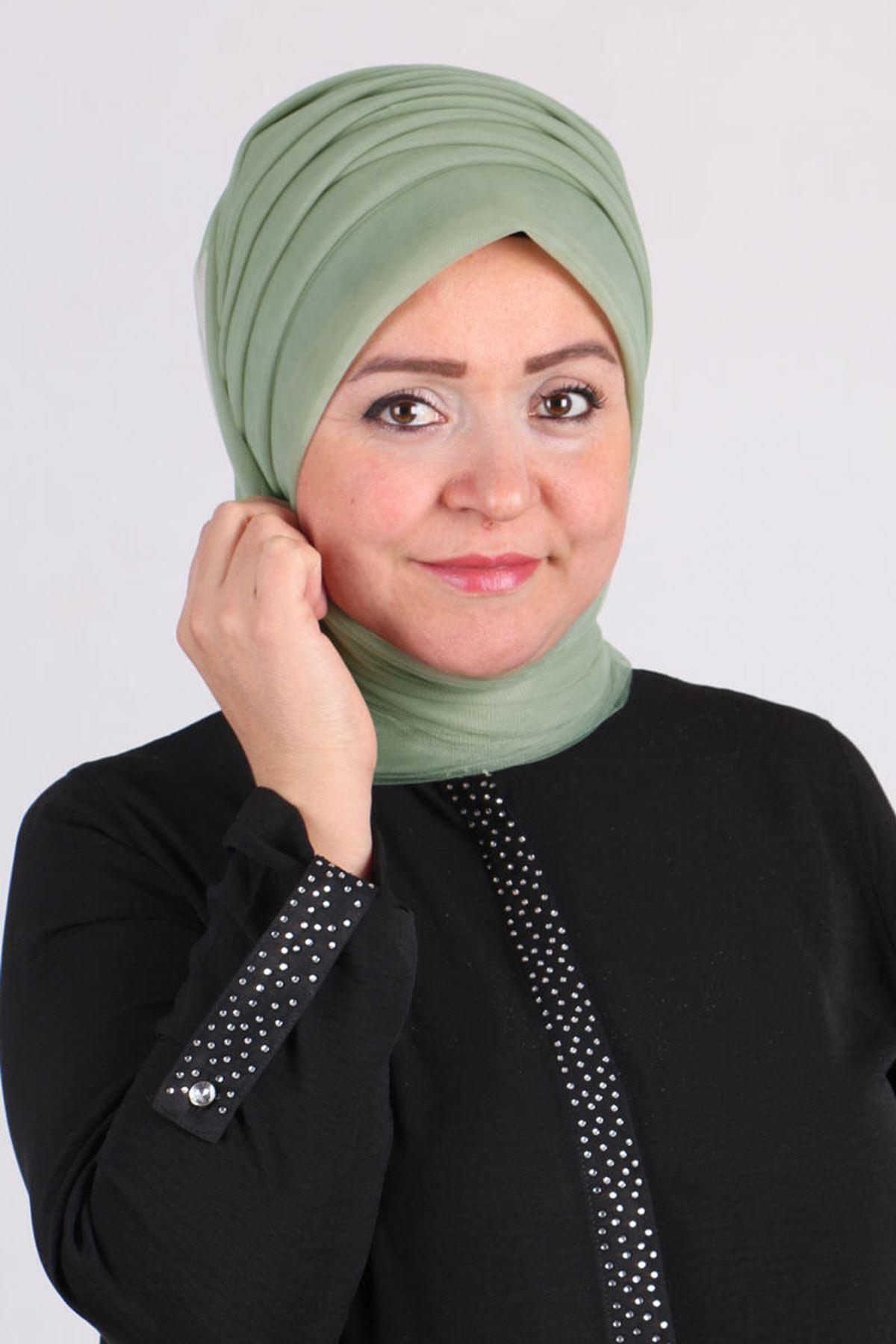 17179  حجاب جاهز -  أخضر فاتح