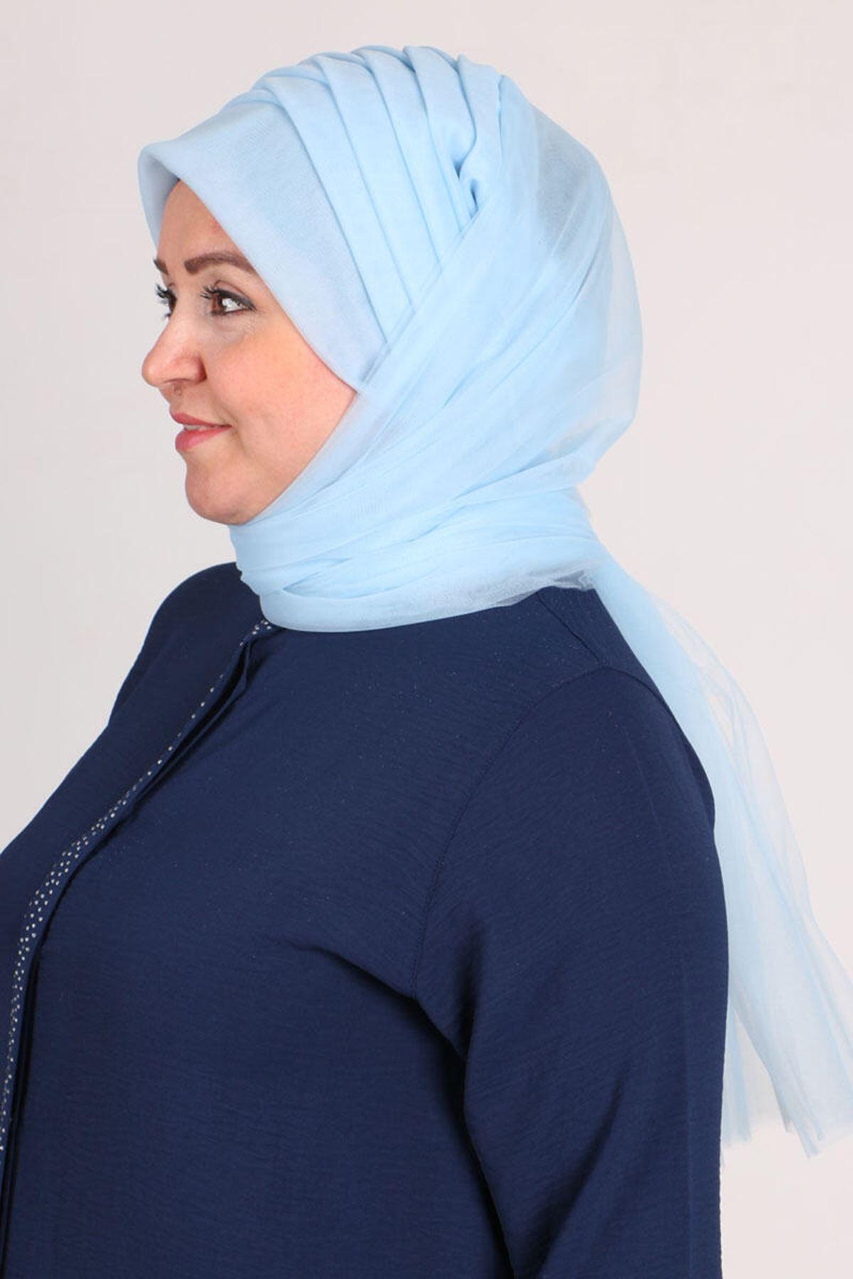 17179  حجاب جاهز - أزرق ثلجي