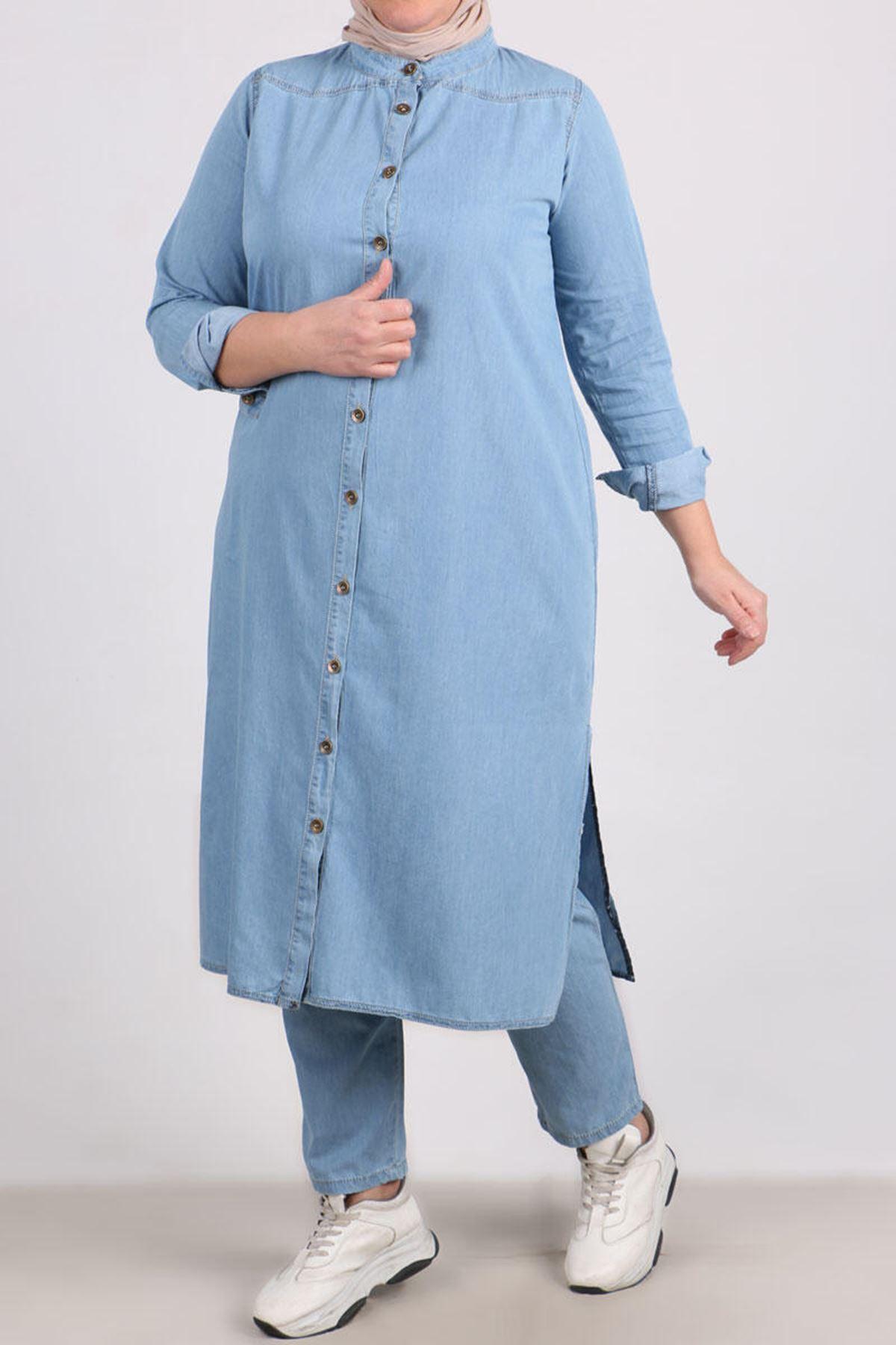 7680 Büyük Beden Pantolonlu Kot Takım-Buz Mavi