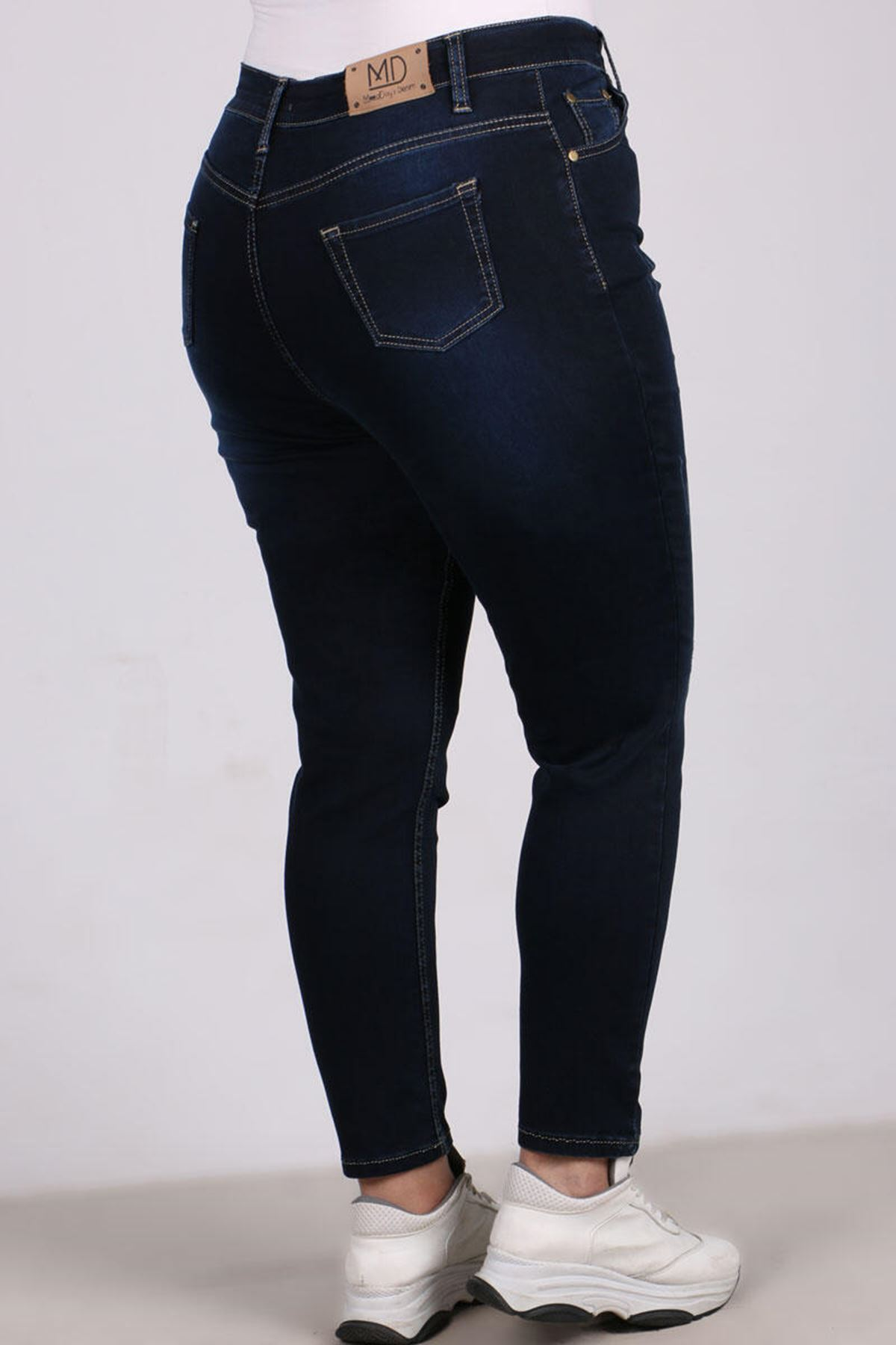 9117 -1 بنطلون جينز ضيق الساق مقاس كبير - كحلي