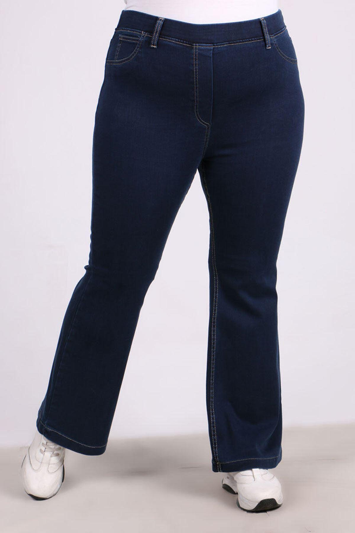 9137 Büyük Beden Beli Lastikli İspanyol Paça Kot Pantalon-Mavi