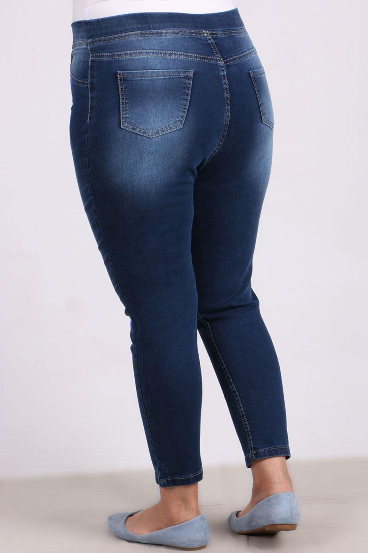 9109-10 Büyük Beden Beli Lastikli Tırnaklı  Dar Paça Kot Pantalon- Mavi