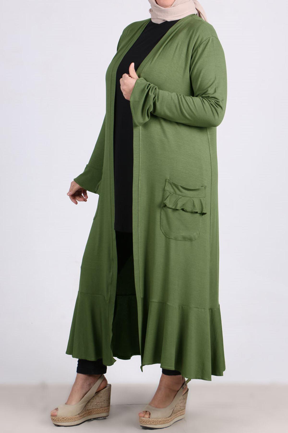 3153 Büyük Beden Volanlı Penye Ceket - Yeşil