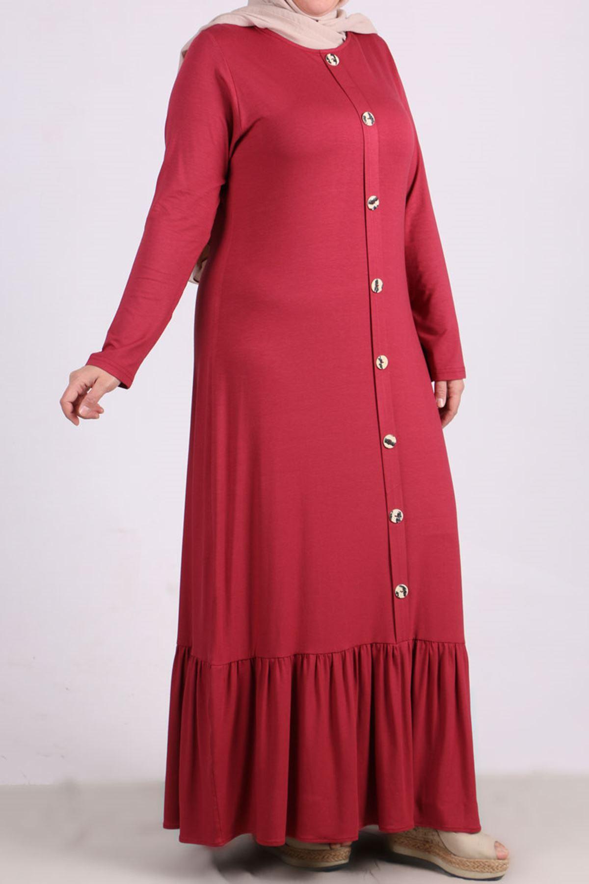 2090 Büyük Beden Önü Düğmeli Penye Elbise - Koyu Gül