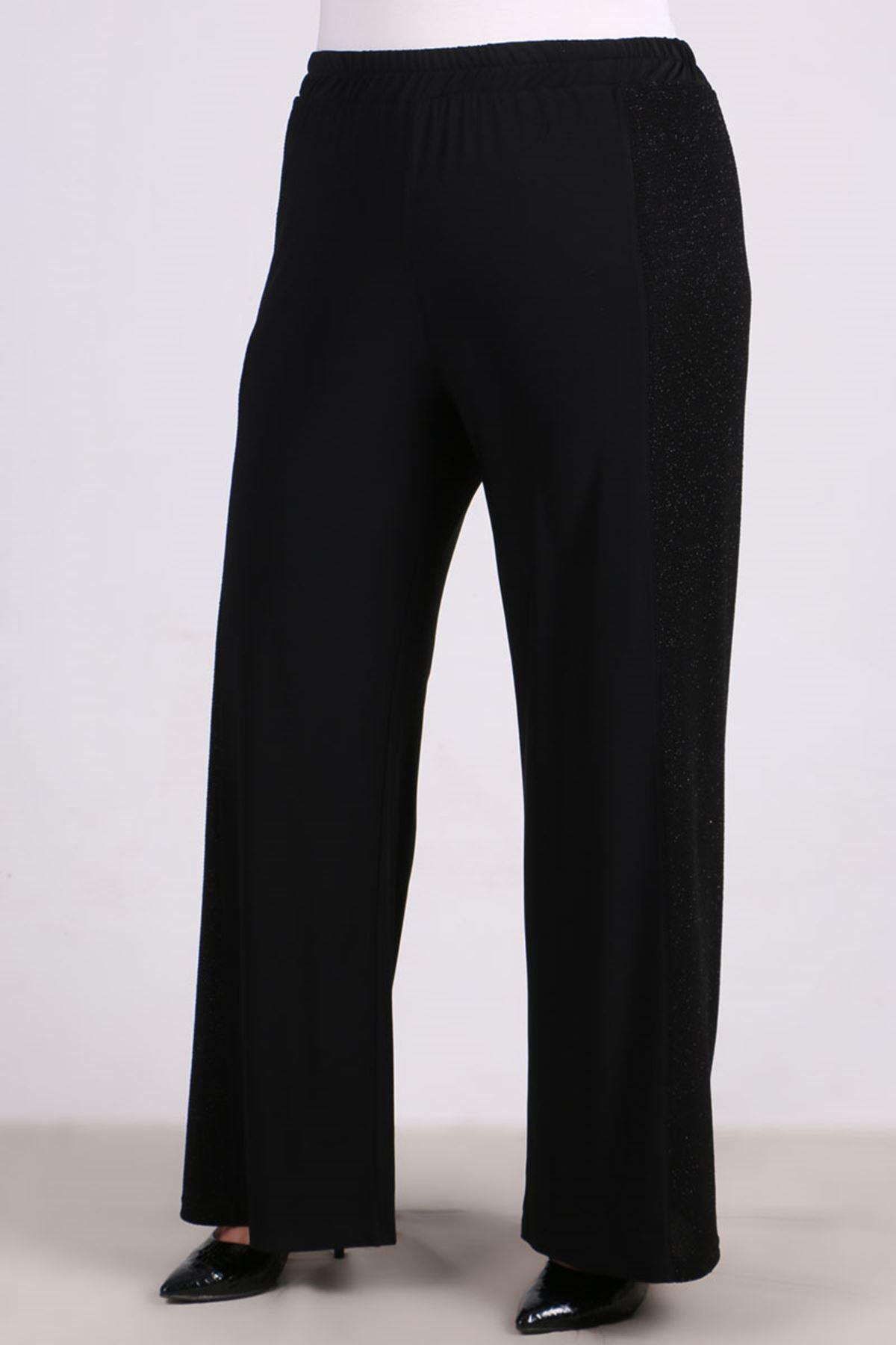 7691 Büyük Beden Sandy Pantalonlu Takım - Siyah