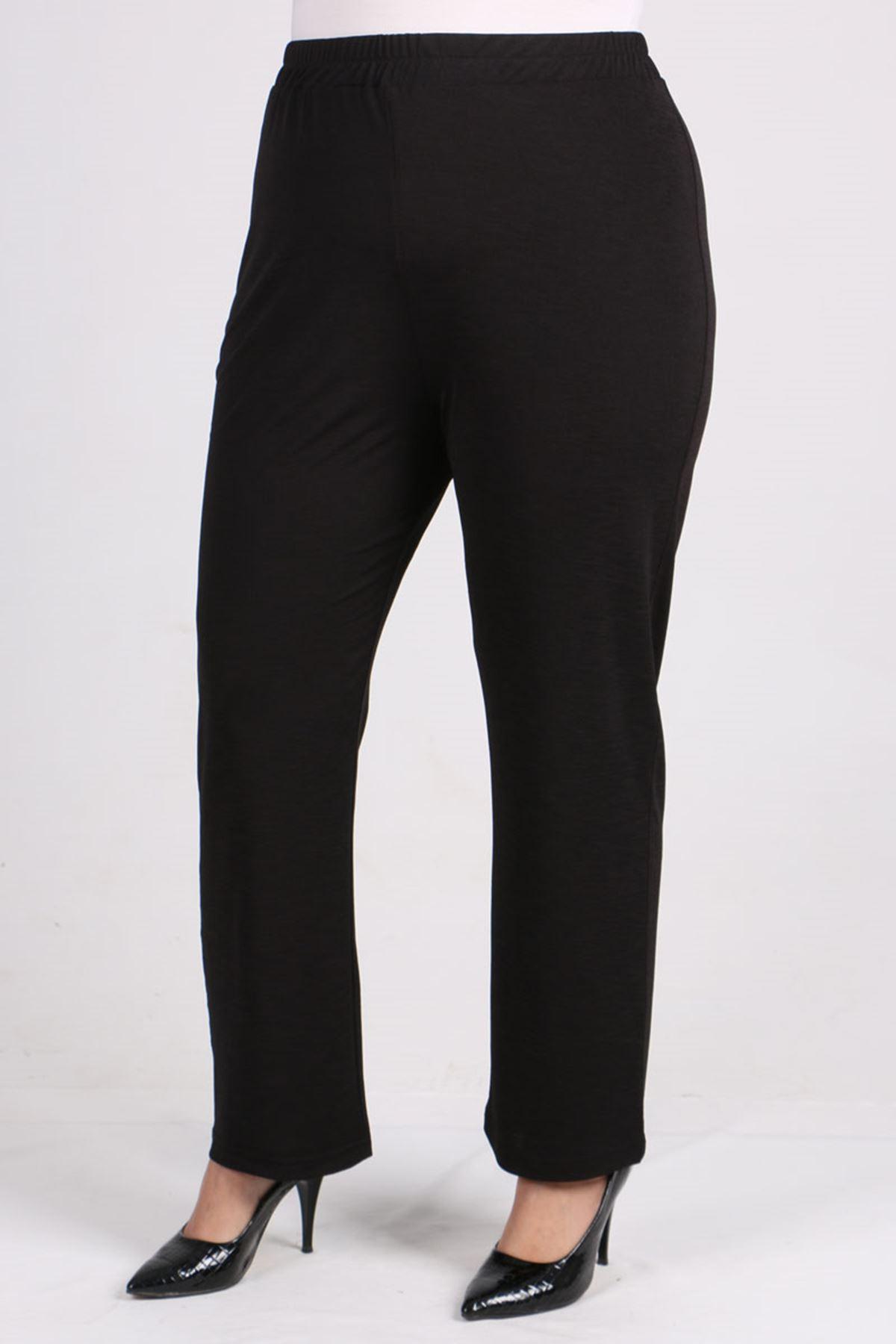 7696 Büyük Beden Renk Kombinli Mina Pantalonlu Takım  Haki-Siyah