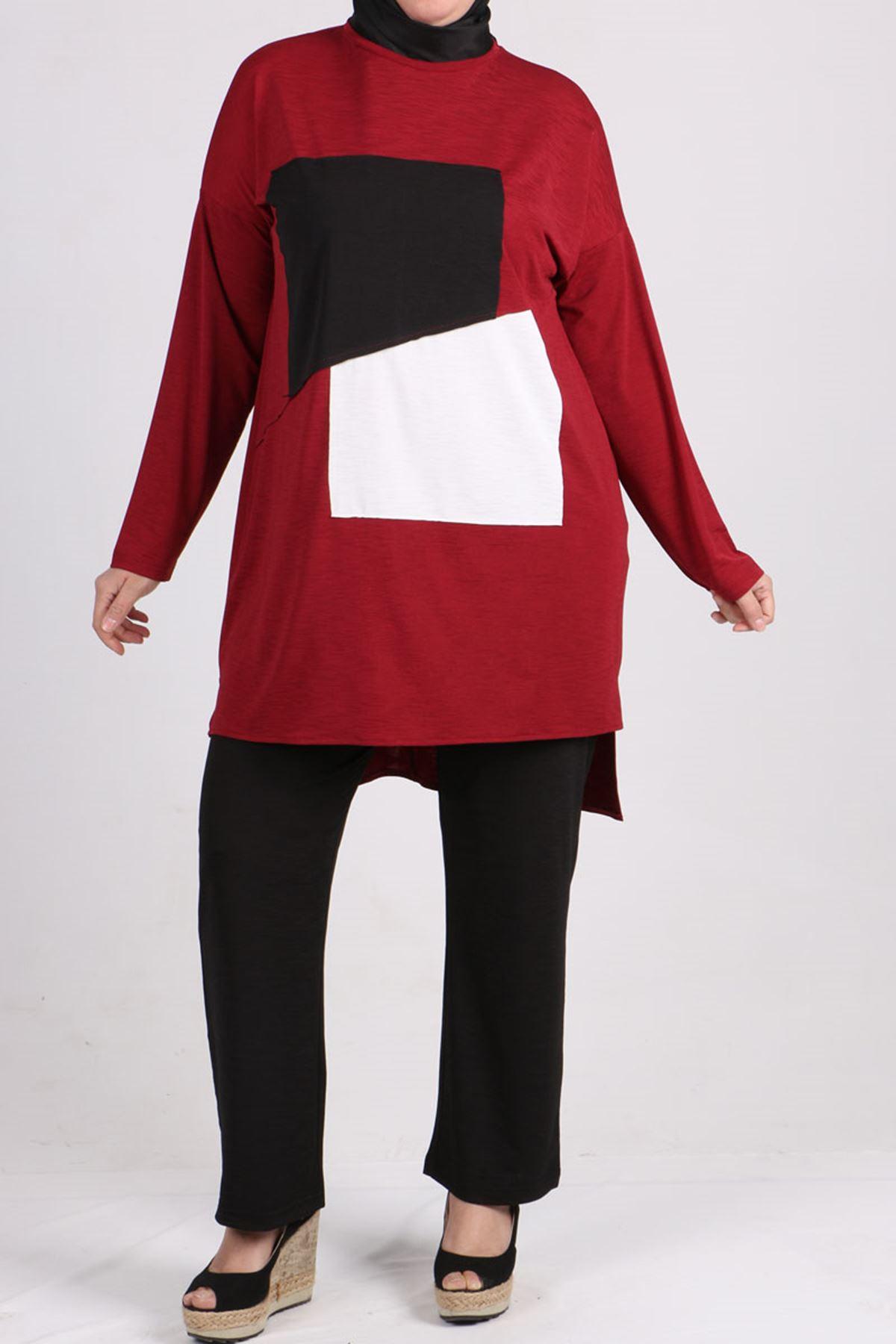 7696 Büyük Beden Renk Kombinli Mina Pantalonlu Takım  Bordo-Siyah