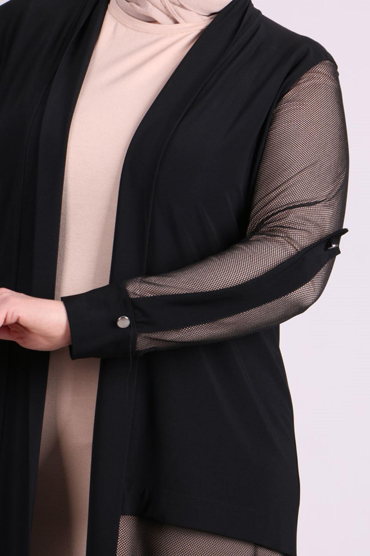 3151 Büyük Beden File Detaylı Sandy Ceket - Siyah
