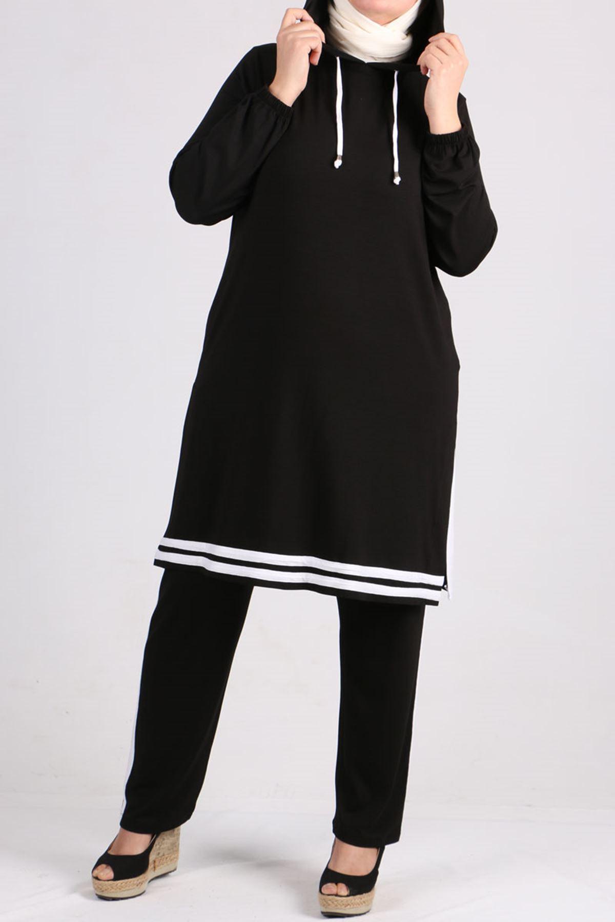 7689 Büyük Beden Şeritli Penye Pantalonlu Takım - Siyah