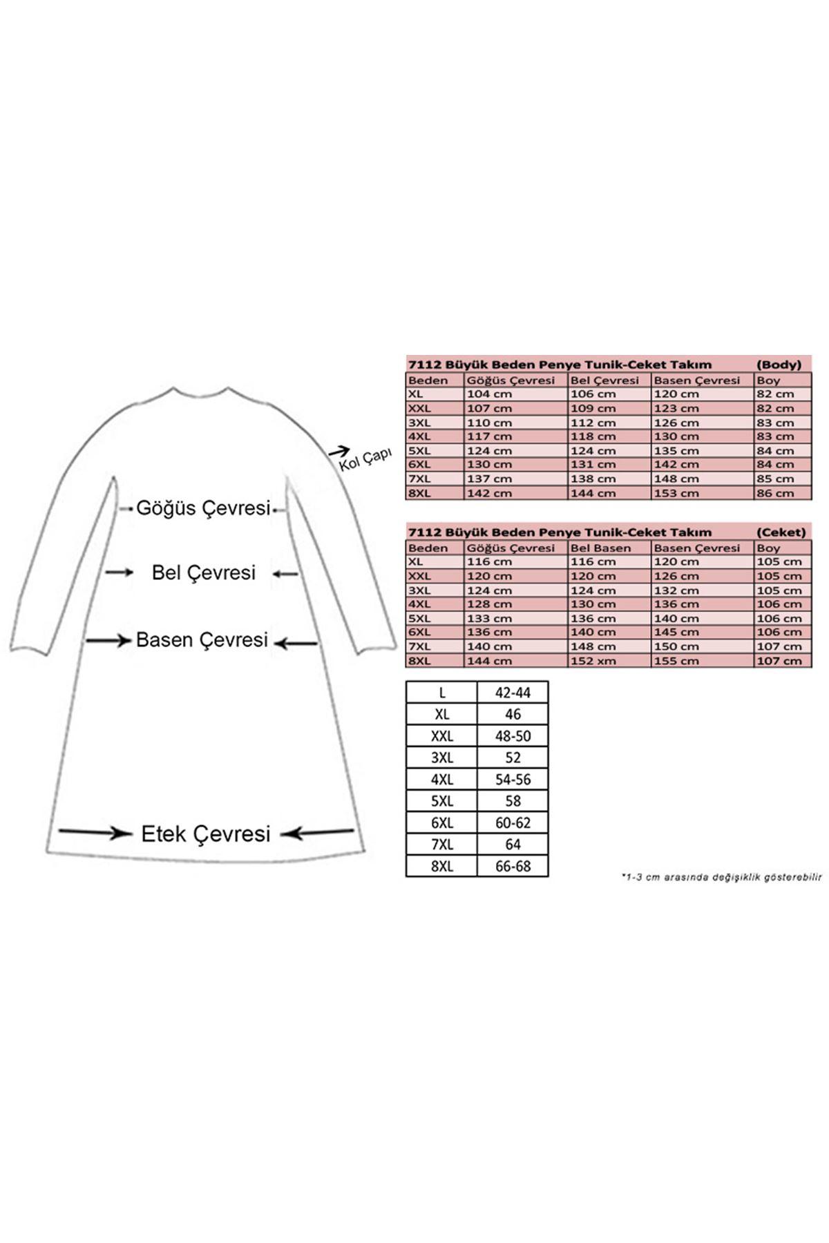 7112 Büyük Beden Penye Tunik-Ceket Takım - Lacivert