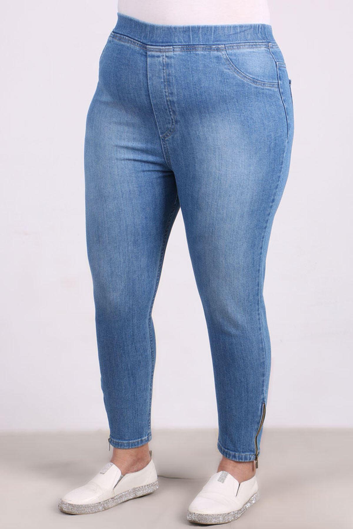 D-9121-1 Büyük Beden Defolu Taşlanmış Fermuar Detaylı Dar Paça Kot Pantalon-Mavi