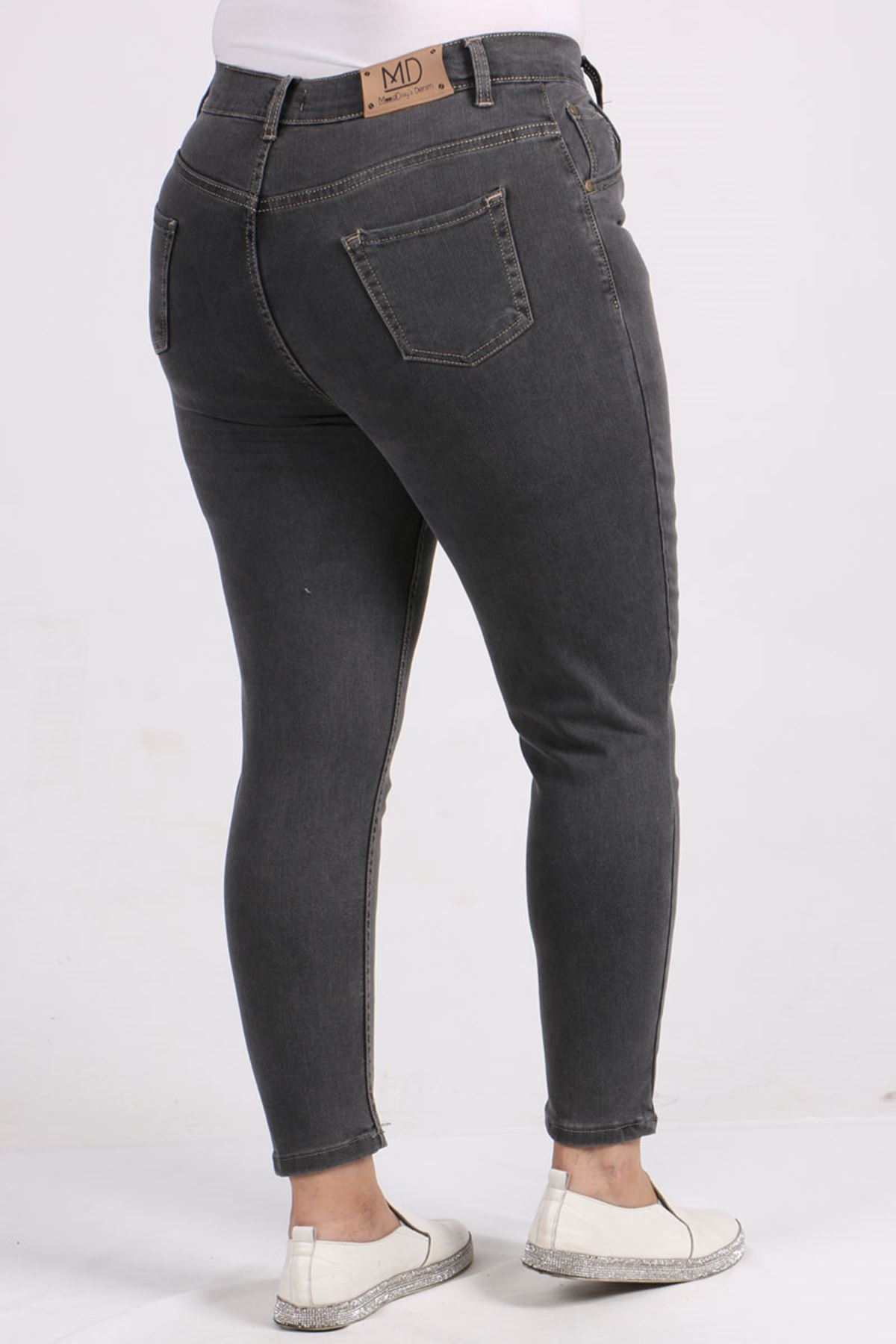 9107-1 Büyük Beden Dar Paça Kot Pantalon-Antrasit