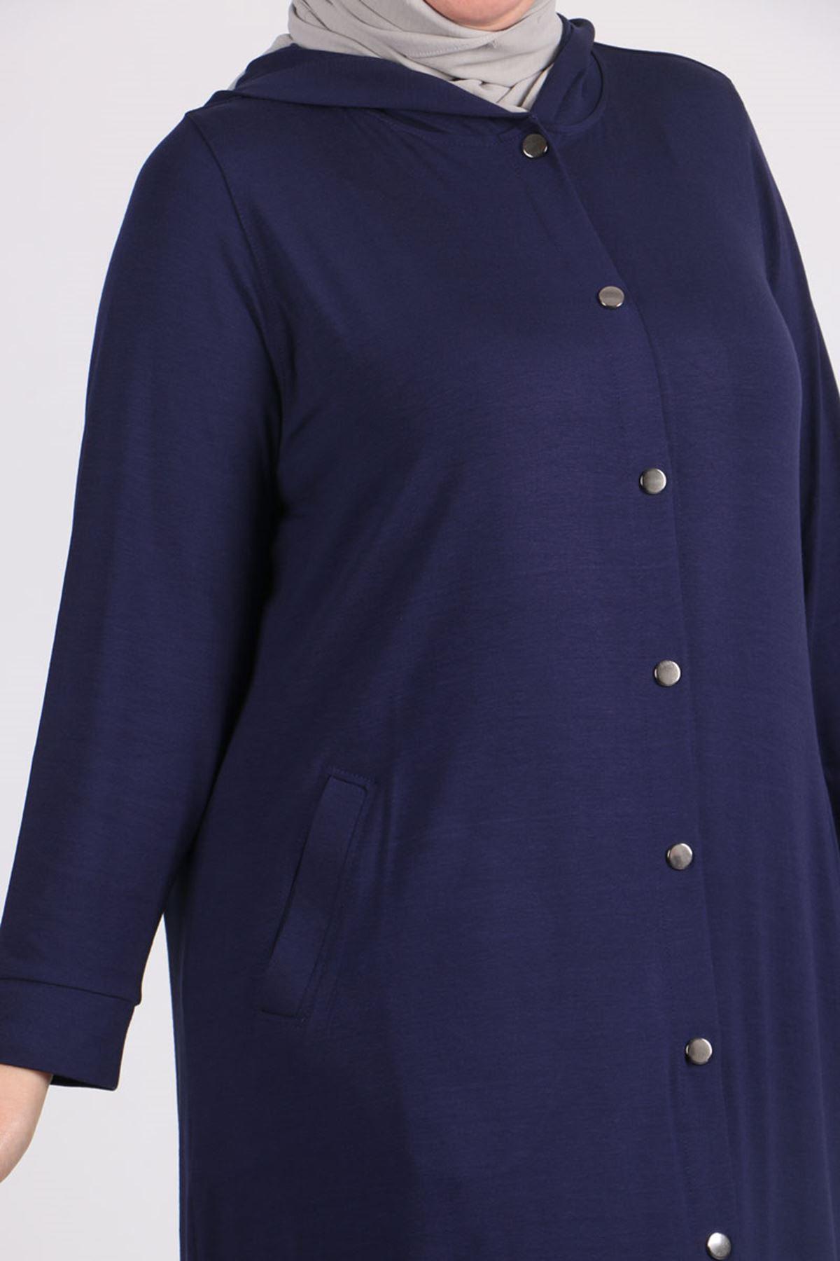 3152 Büyük Beden Çıtçıtlı Penye Ceket - Lacivert