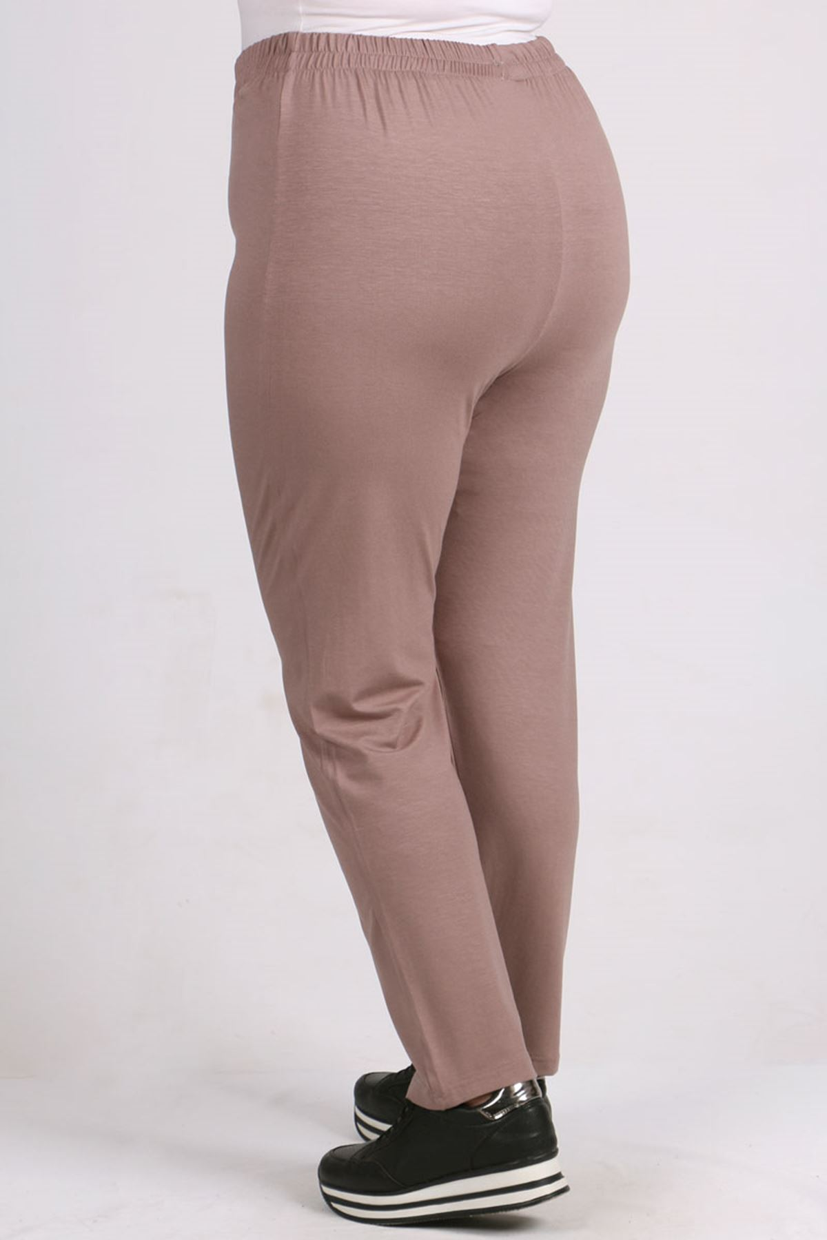 9057 Büyük Beden Yüksel Bel Lastikli Penye Pantalon -Vizon-1