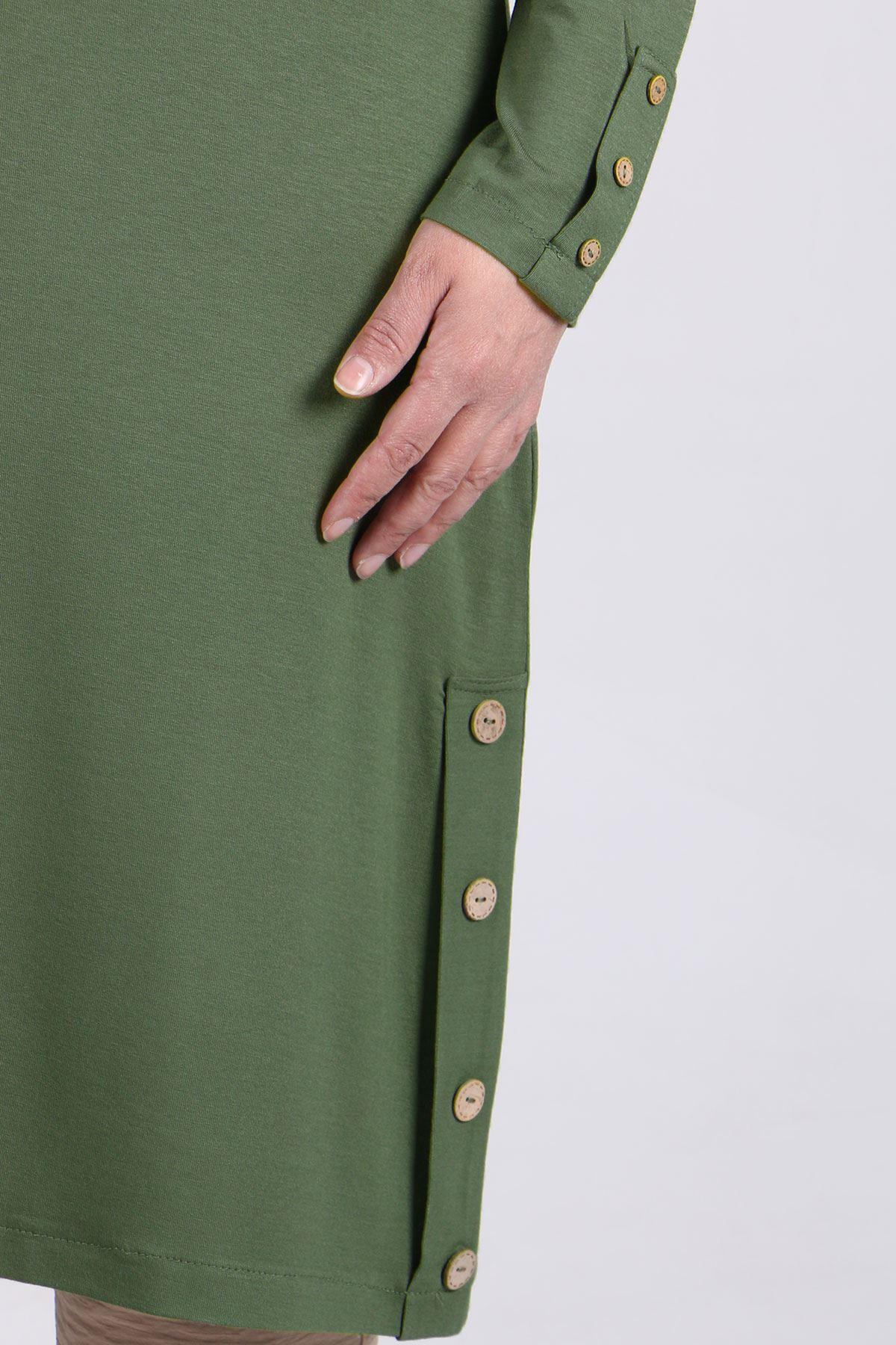 8180 Büyük Beden Düğme Detaylı Penye Tunik - Yeşil