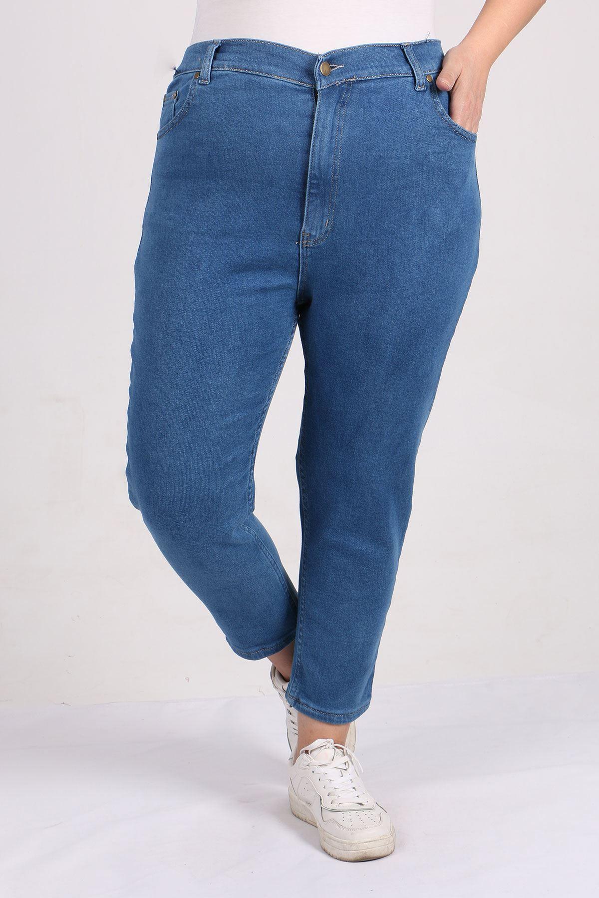 9125 Büyük Beden Boyfriend Kot Pantolon - Açık Mavi