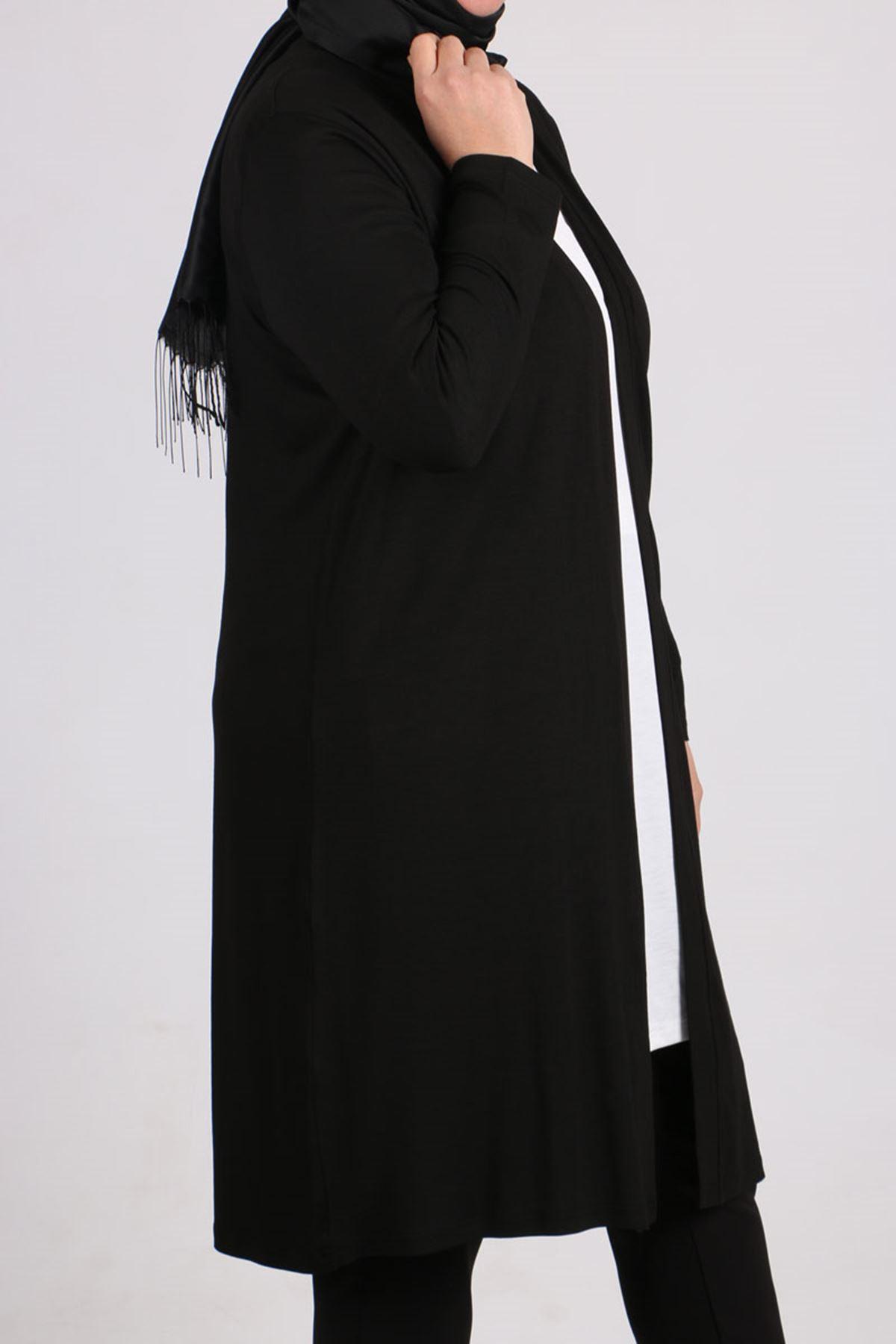 3013 Büyük Beden Penye Ceket - Siyah