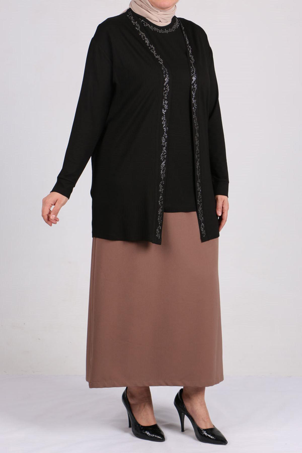 7113 Büyük Beden Taş Baskılı Penye Tunik-Ceket Takım Siyah