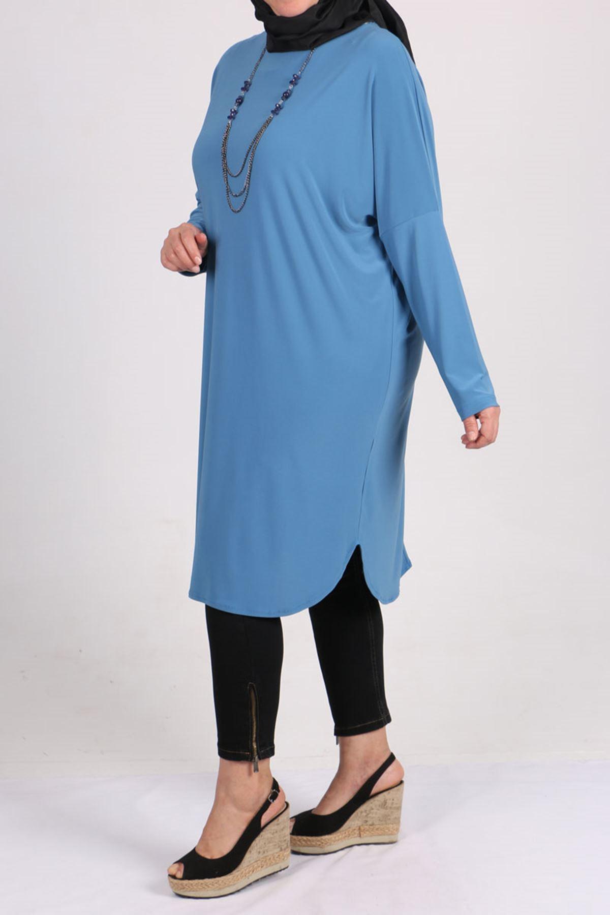 8459 Büyük Beden Düşük Kol Sandy Tunik - Bebe Mavi