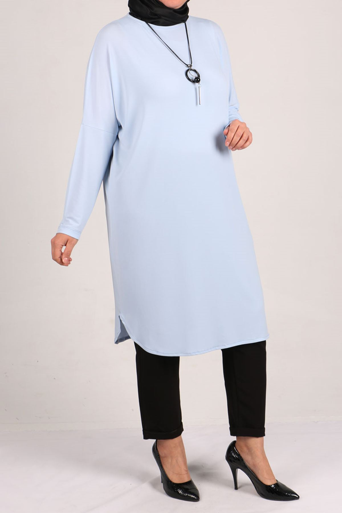 8459 Oversize with Low Sleeve Tunic - Ice Blue