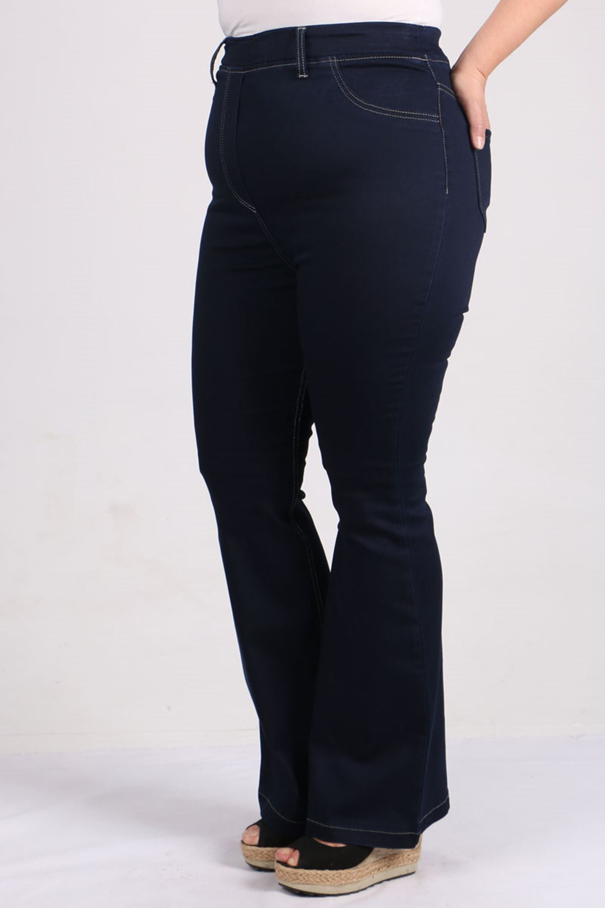 9137 Büyük Beden Beli Lastikli İspanyol Paça Kot Pantalon-Koyu Lacivert