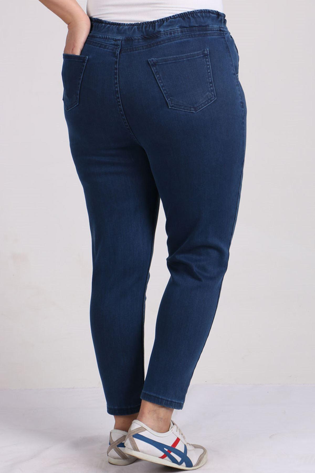 9136 Büyük Beden Beli Lastikli Mom Jeans Pantolon Koyu Mavi - Saks