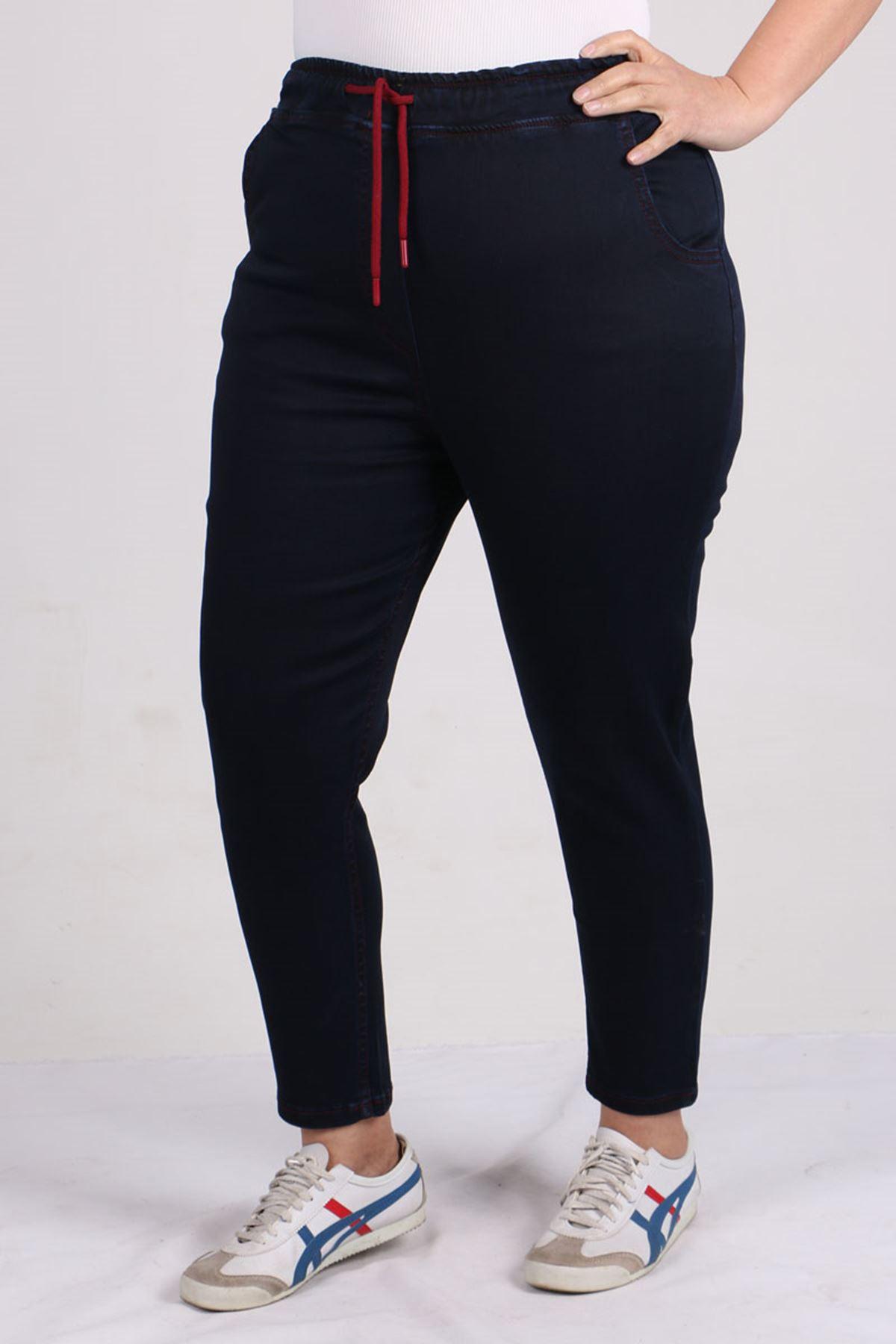 9136 Büyük Beden Beli Lastikli Mom Jeans Pantolon Koyu Lacivert - Bordo