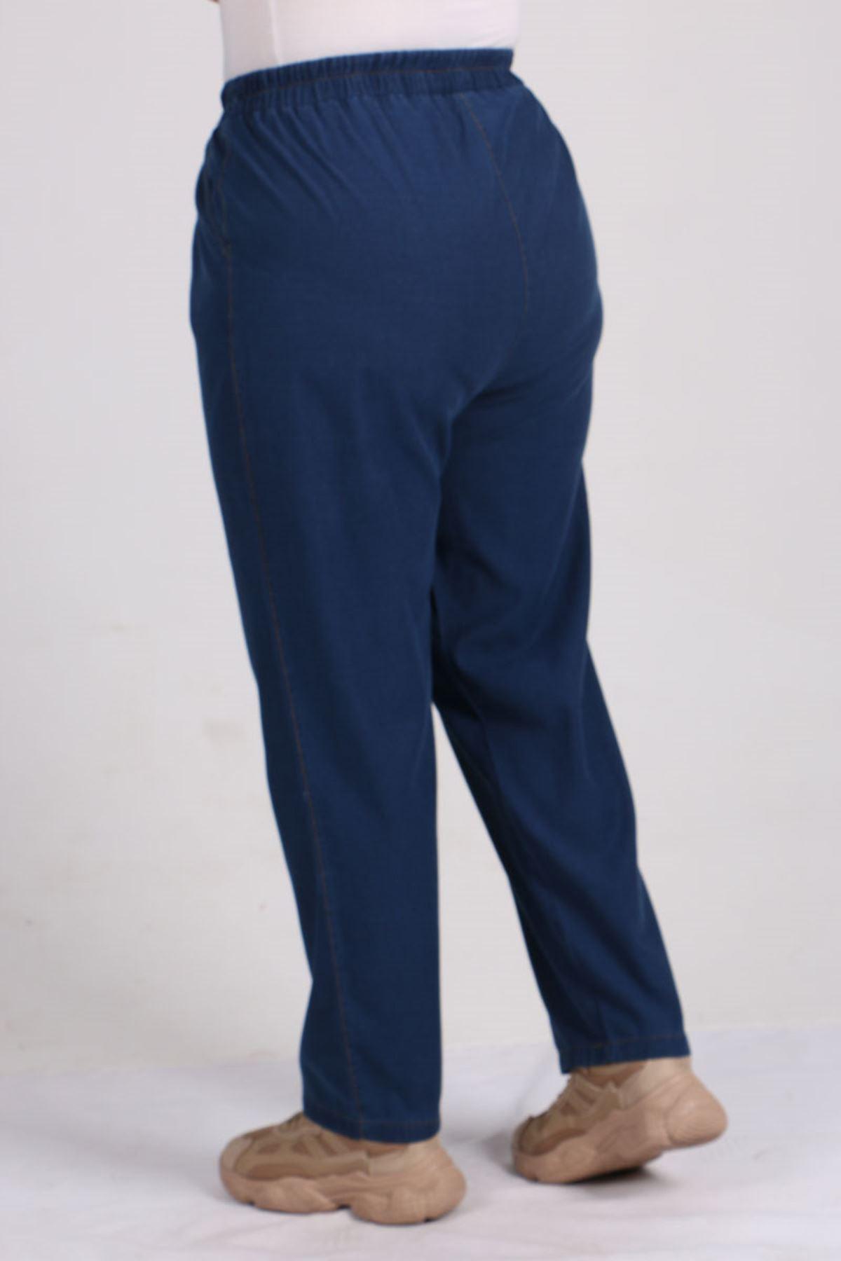 9154 Büyük Beden Beli Lastikli Dar Paça Kot Pantolon - Koyu Mavi