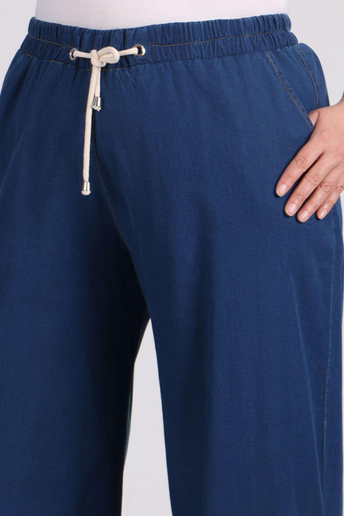 9155 Büyük Beden Beli Lastikli Bol Paça Kot Pantolon - Koyu Mavi