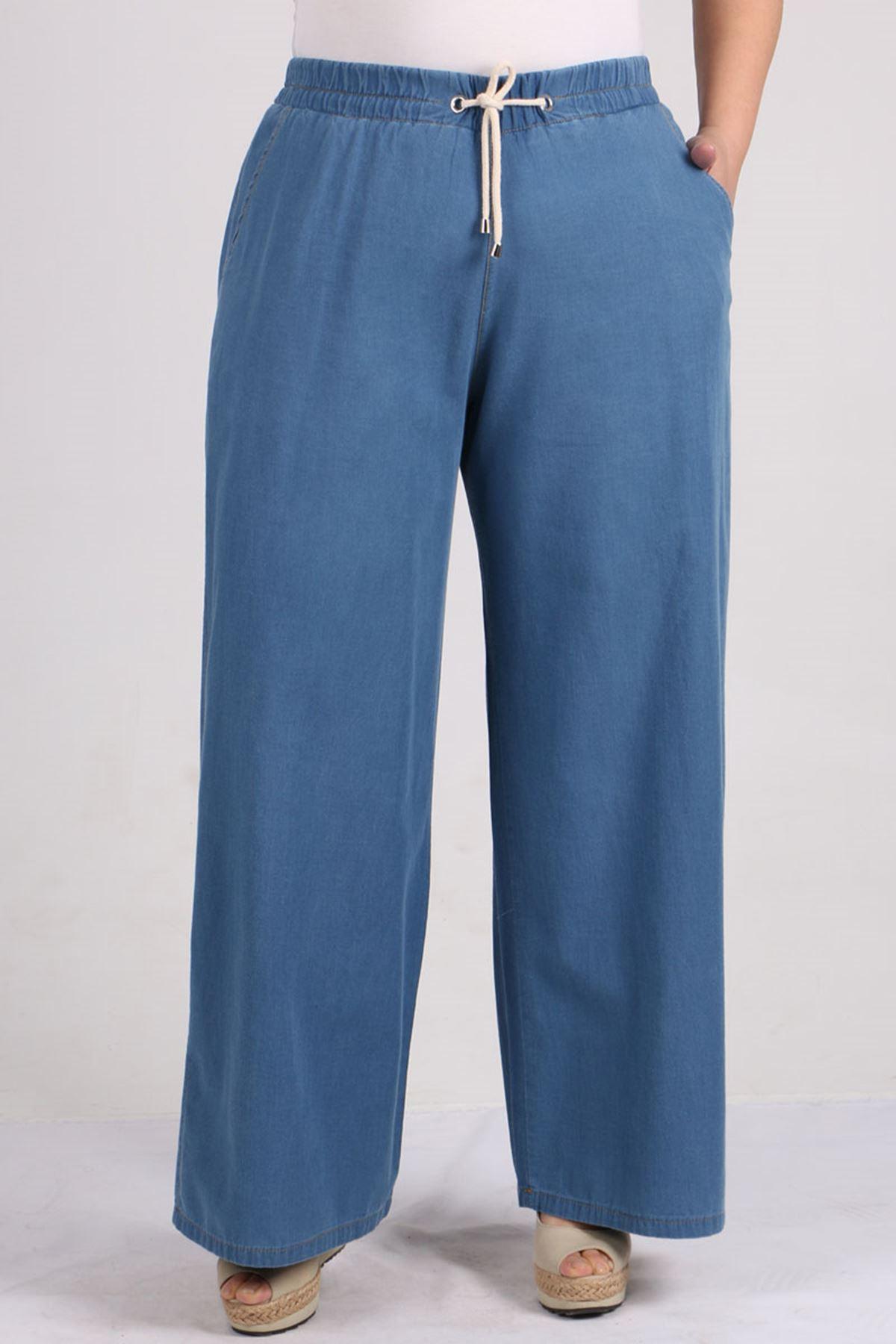 9155 Büyük Beden Beli Lastikli Bol Paça Kot Pantolon - Açık Mavi