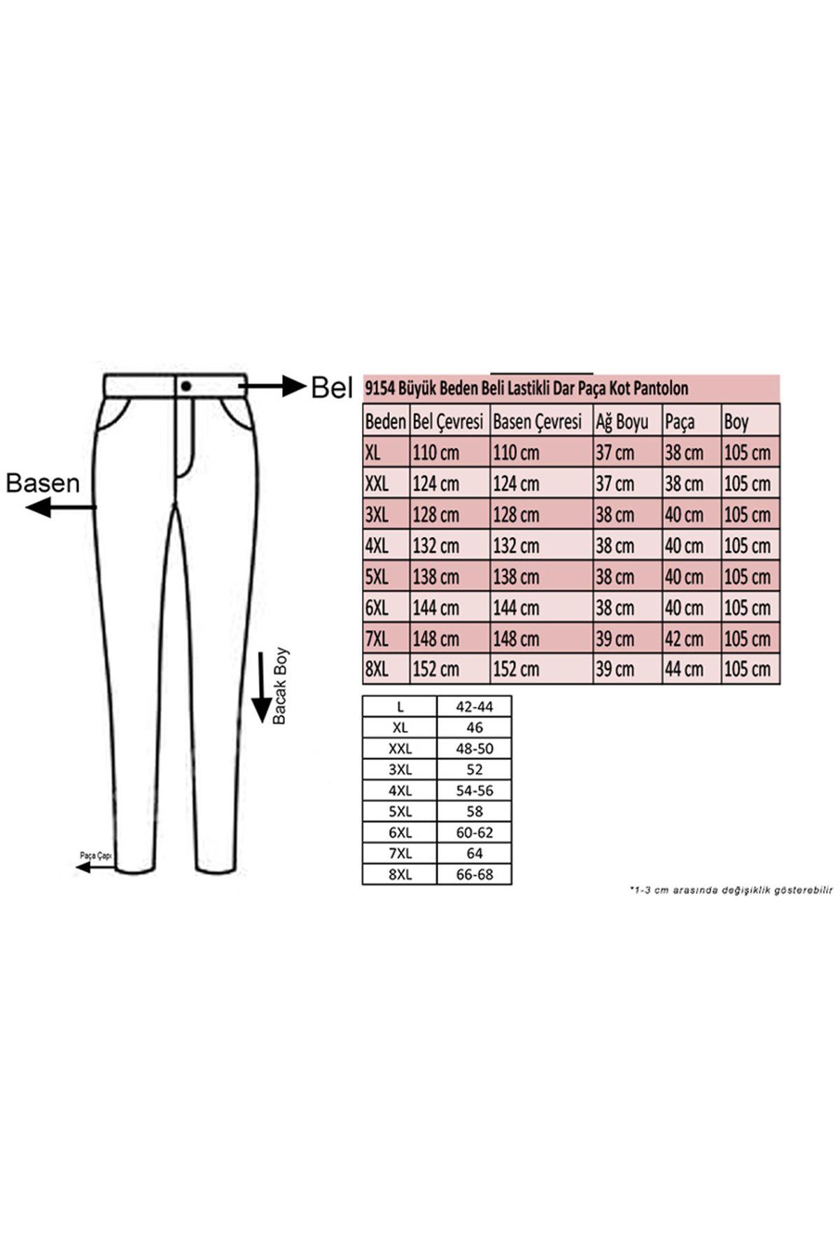 9154 Büyük Beden Beli Lastikli Dar Paça Kot Pantolon - Açık Mavi