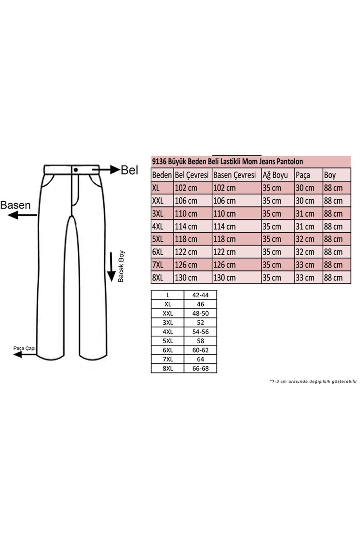 9136 Büyük Beden Beli Lastikli Mom Jeans Pantolon Koyu Lacivert - Saks