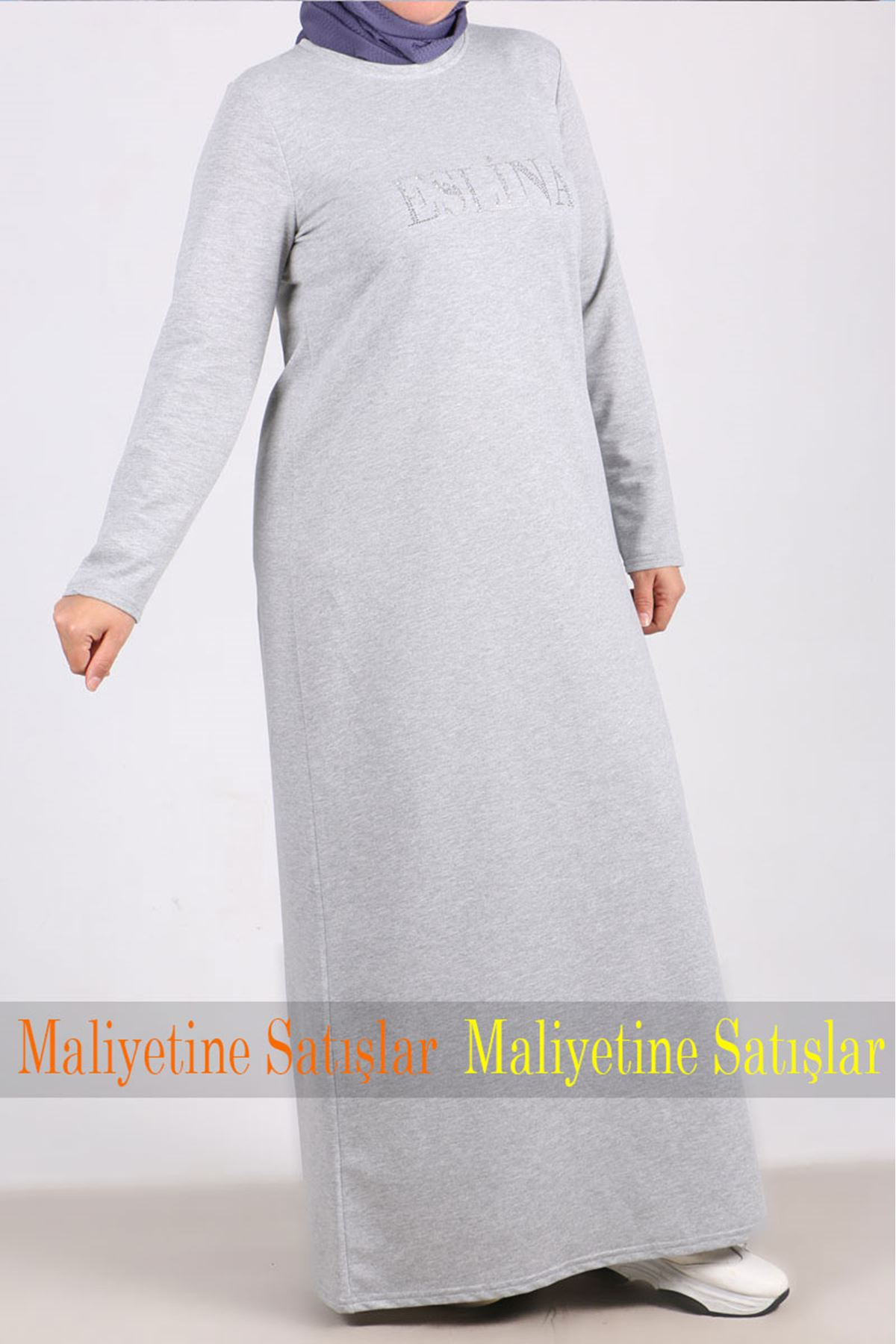 2080 Büyük Beden Önü Taş Baskılı İki İplik Elbise - Gri - kopya