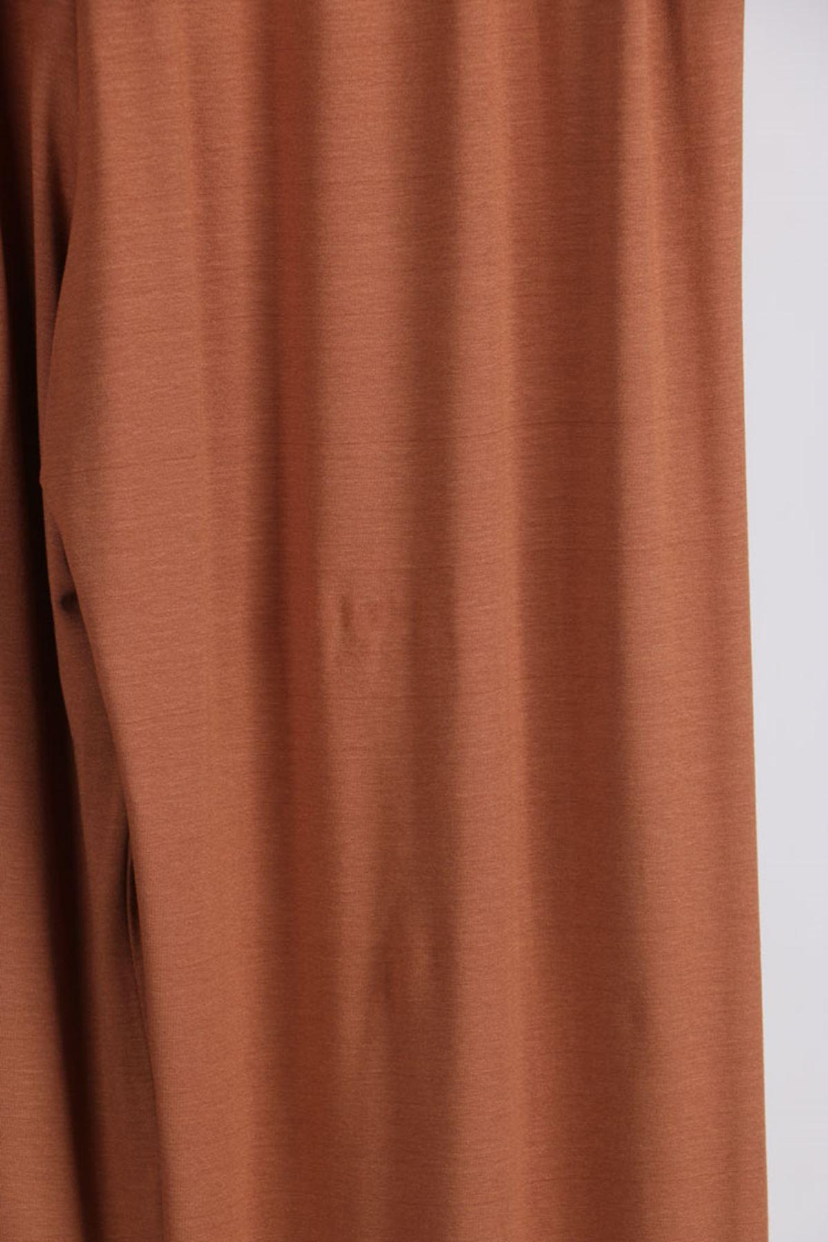 D-9012-1 Büyük Beden Defolu Beli Lastikli Penye Pantolon -Kahve