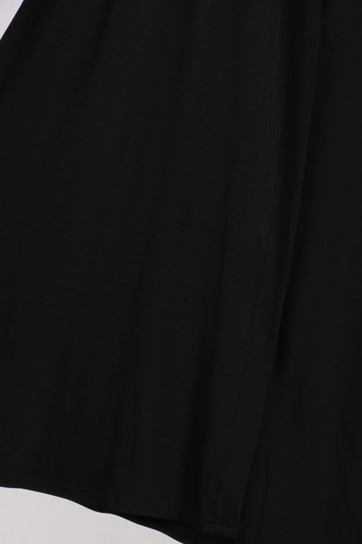 D-4025 Büyük Beden Defolu Penye File Detaylı Yelek - Siyah