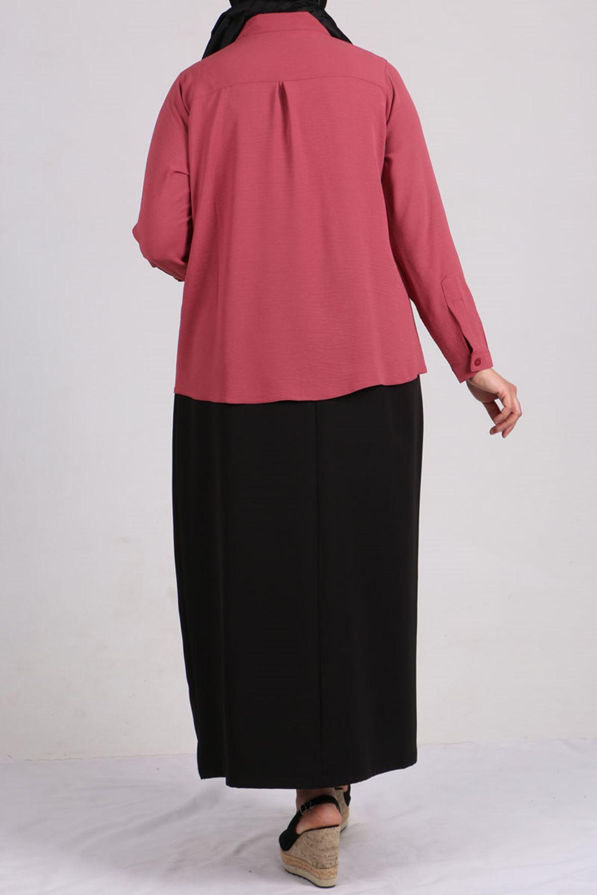 8449 Oversize Short Shirt - Dusty Rose