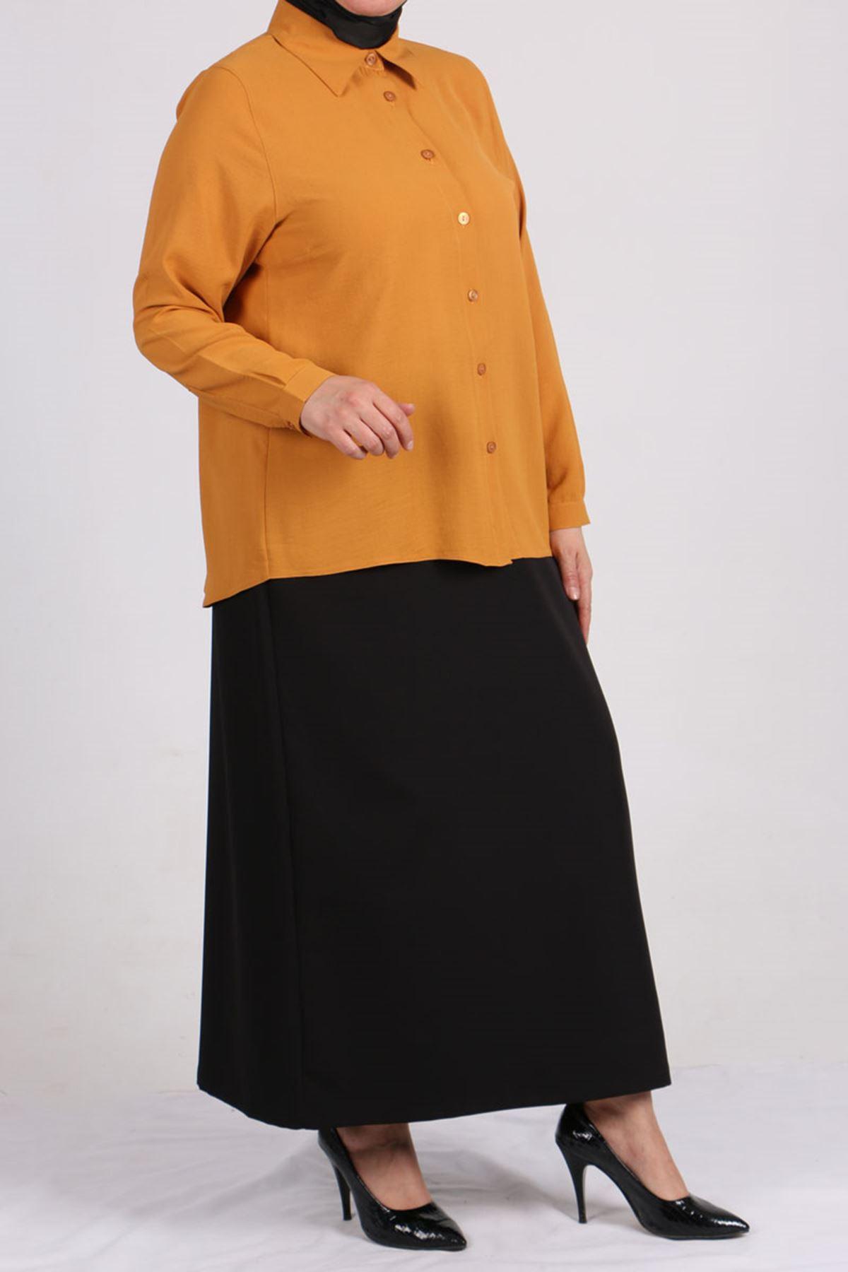 8449 Oversize Short Shirt - Mustard