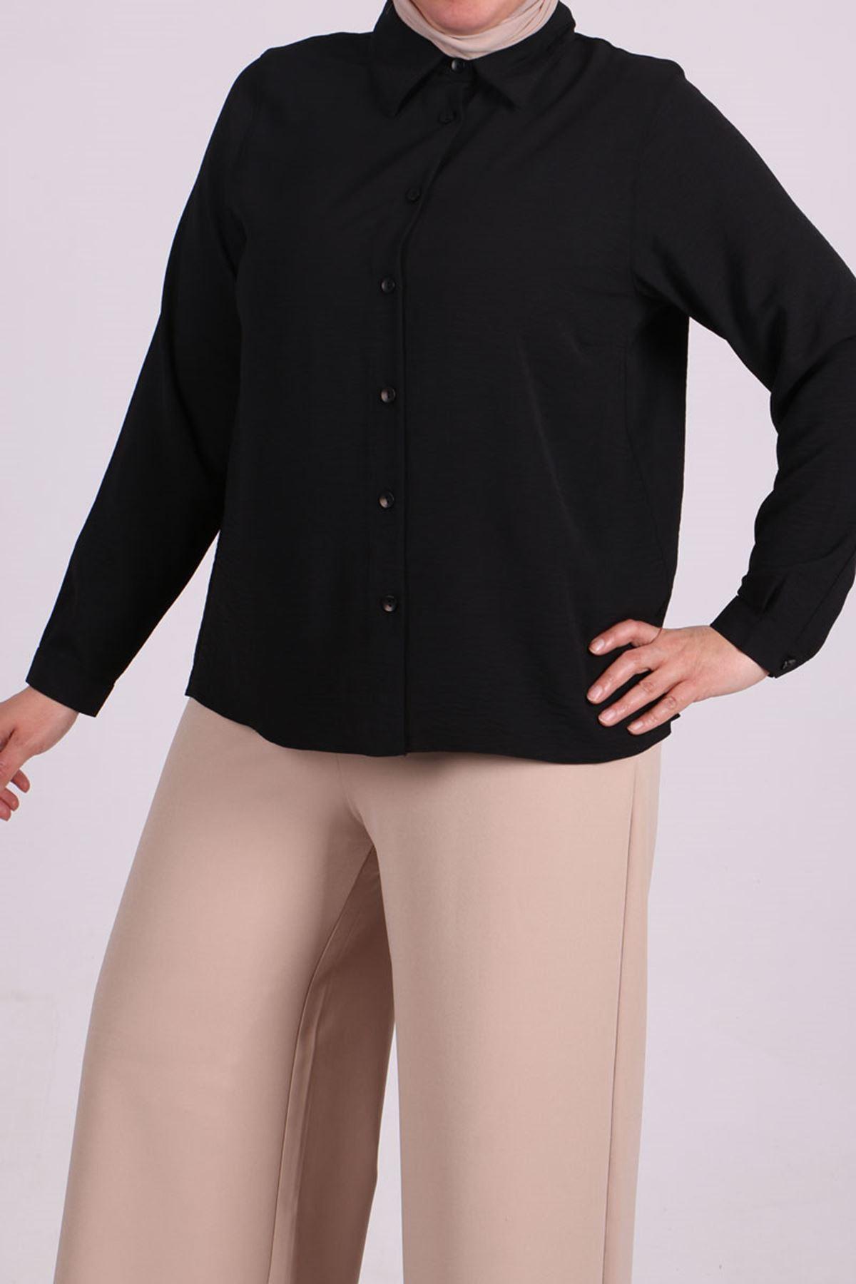 8449 Büyük Beden Airobin Kısa Gömlek - Siyah