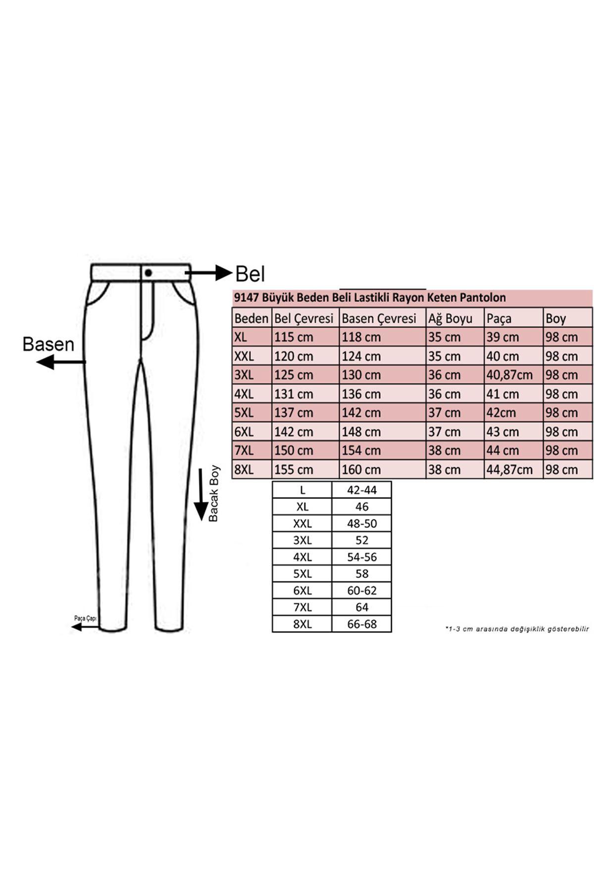 9147 Büyük Beden Beli Lastikli Rayon Keten Pantolon - Siyah
