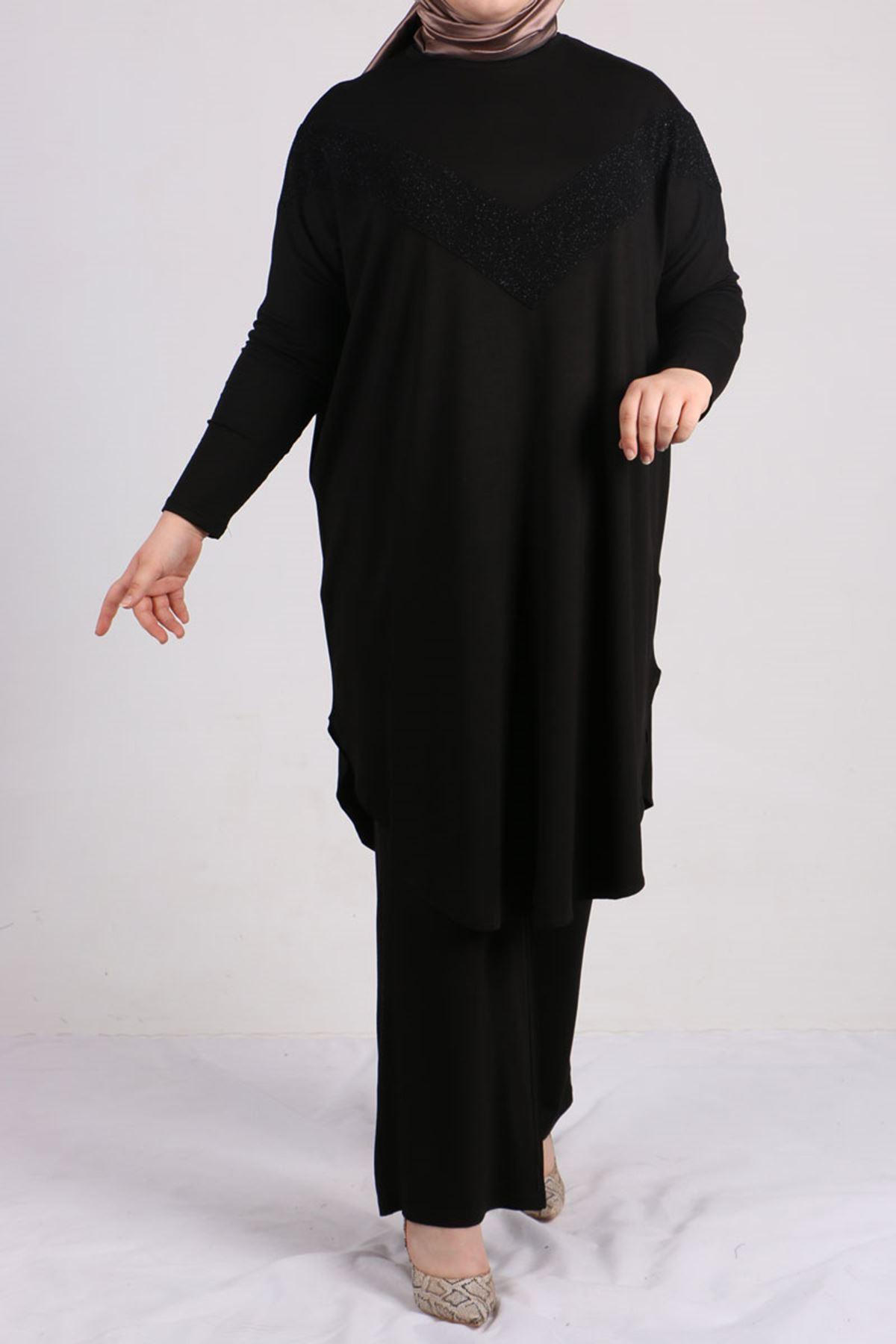 7697 Büyük Beden Fukuro Detaylı Penye Pantolonlu  Takım - Siyah