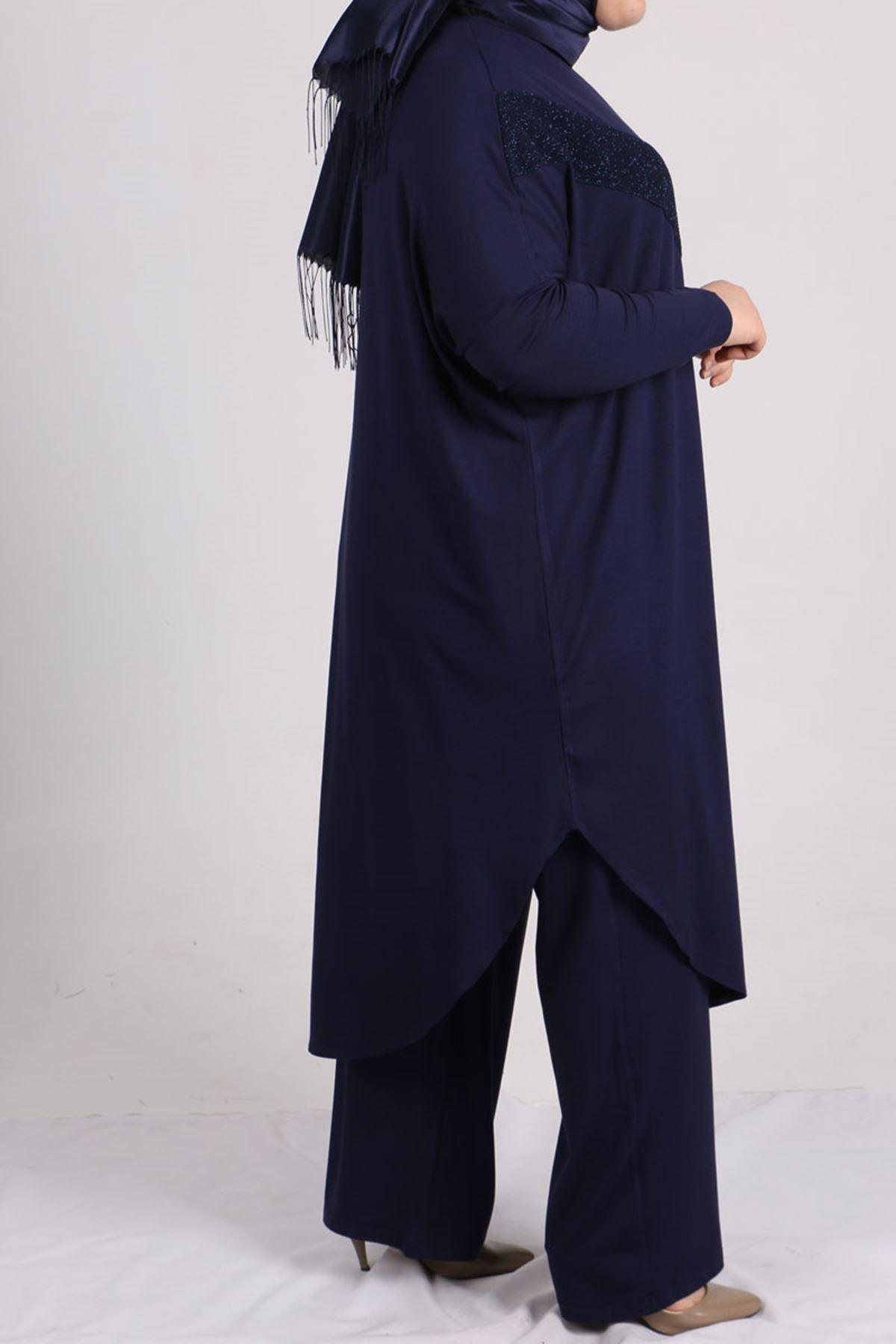 7697 Büyük Beden Fukuro Detaylı Penye Pantolonlu Takım - Lacivert