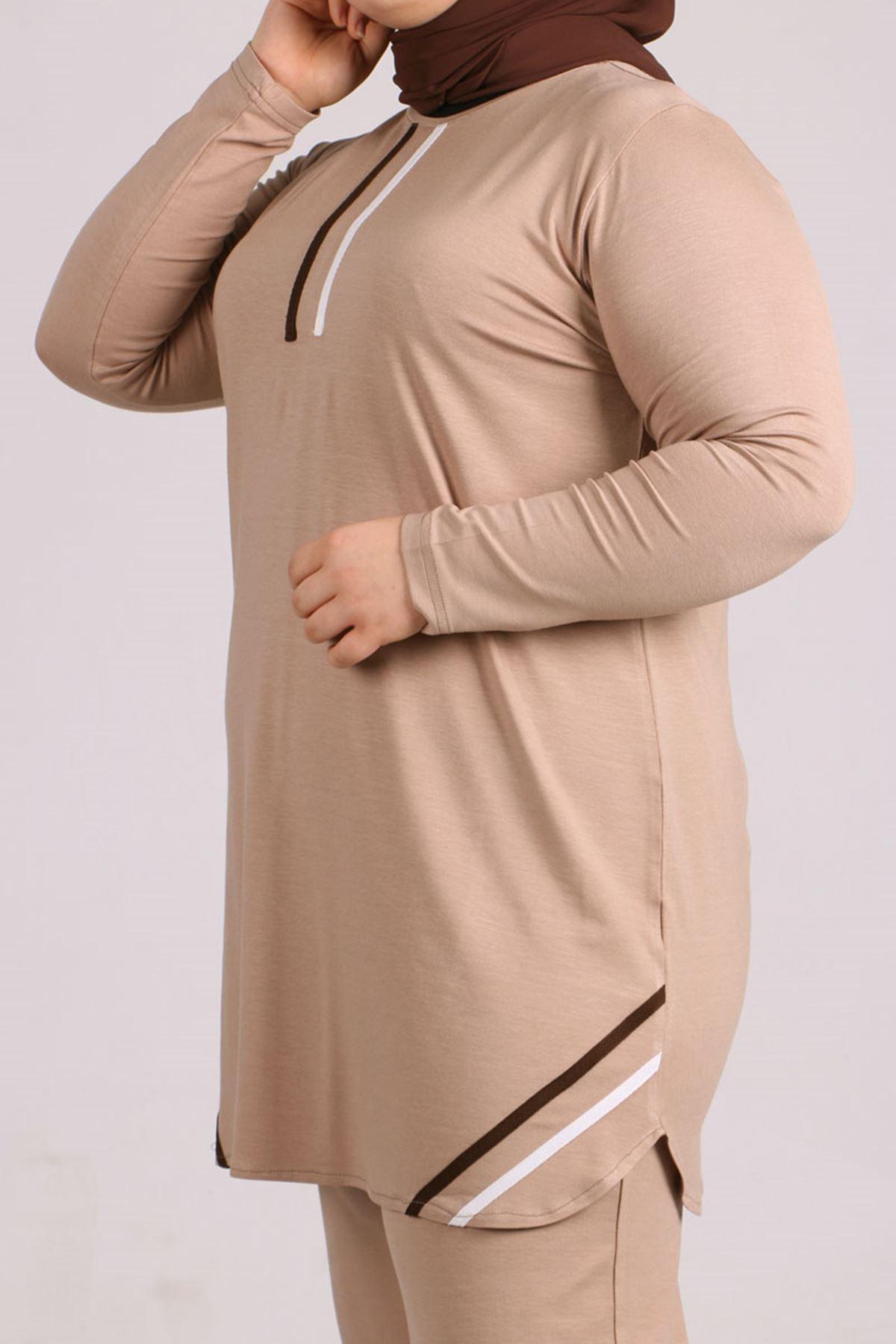 7700 Büyük Beden Penye Şeritli Pantolonlu Takım - Taş
