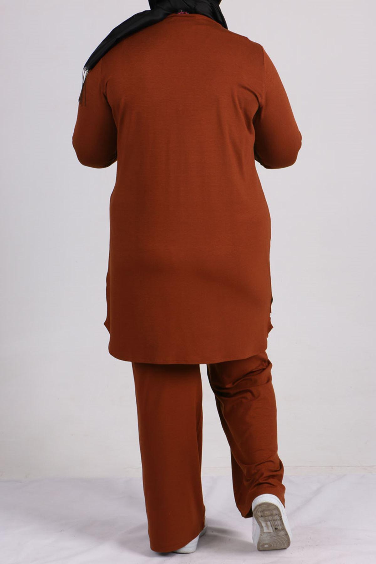 7700 Büyük Beden Penye Şeritli Pantolonlu Takım -Kiremit