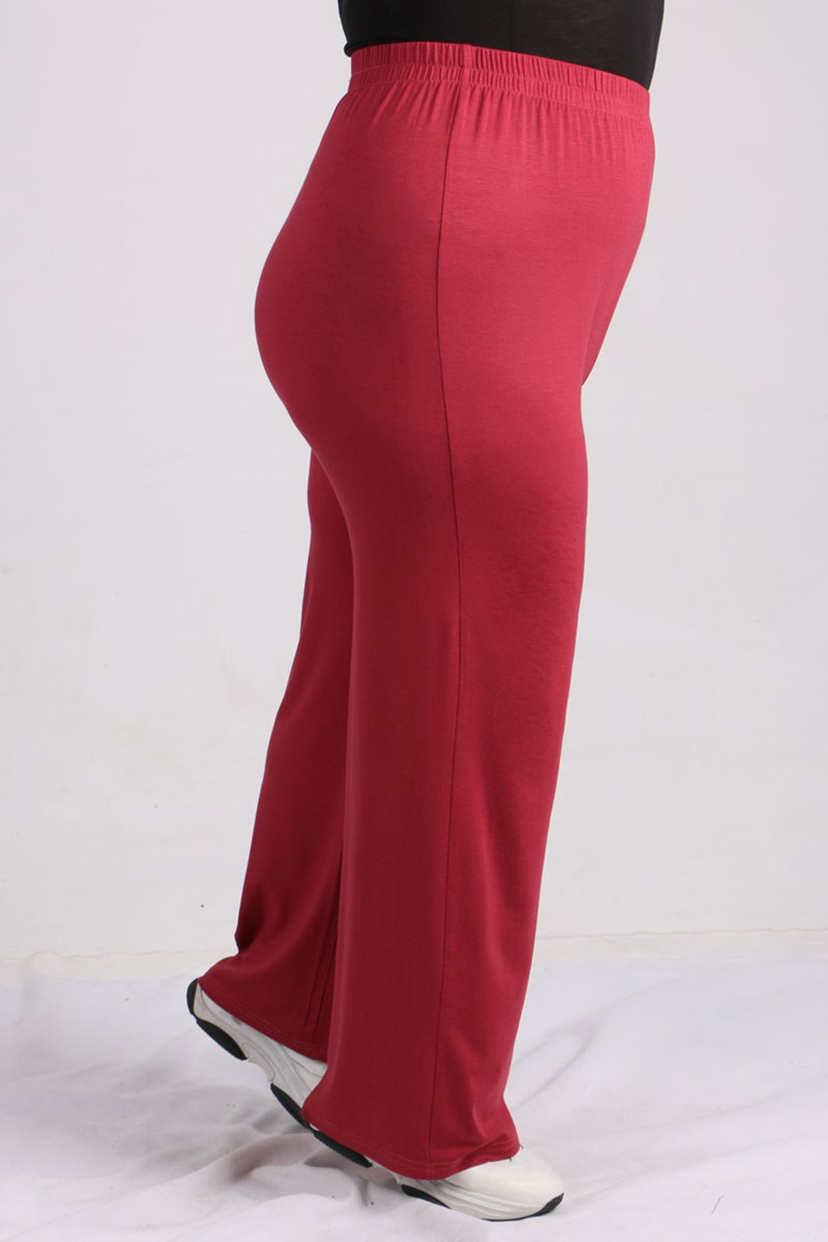 7700 Büyük Beden Penye Şeritli Pantolonlu Takım -Koyu Gül